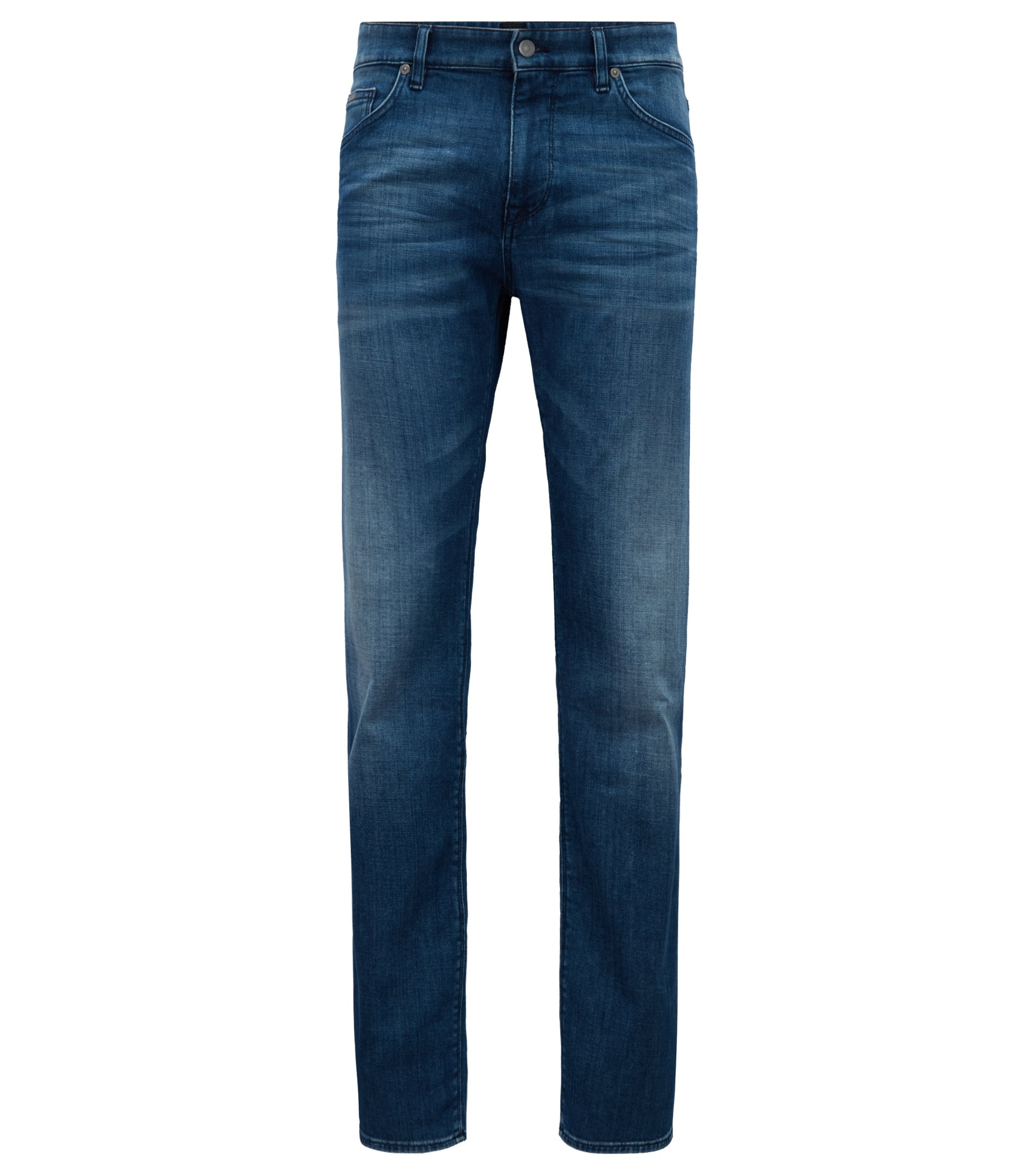 Regular-fit jeans van linksgeweven Italiaans stretchdenim, Blauw