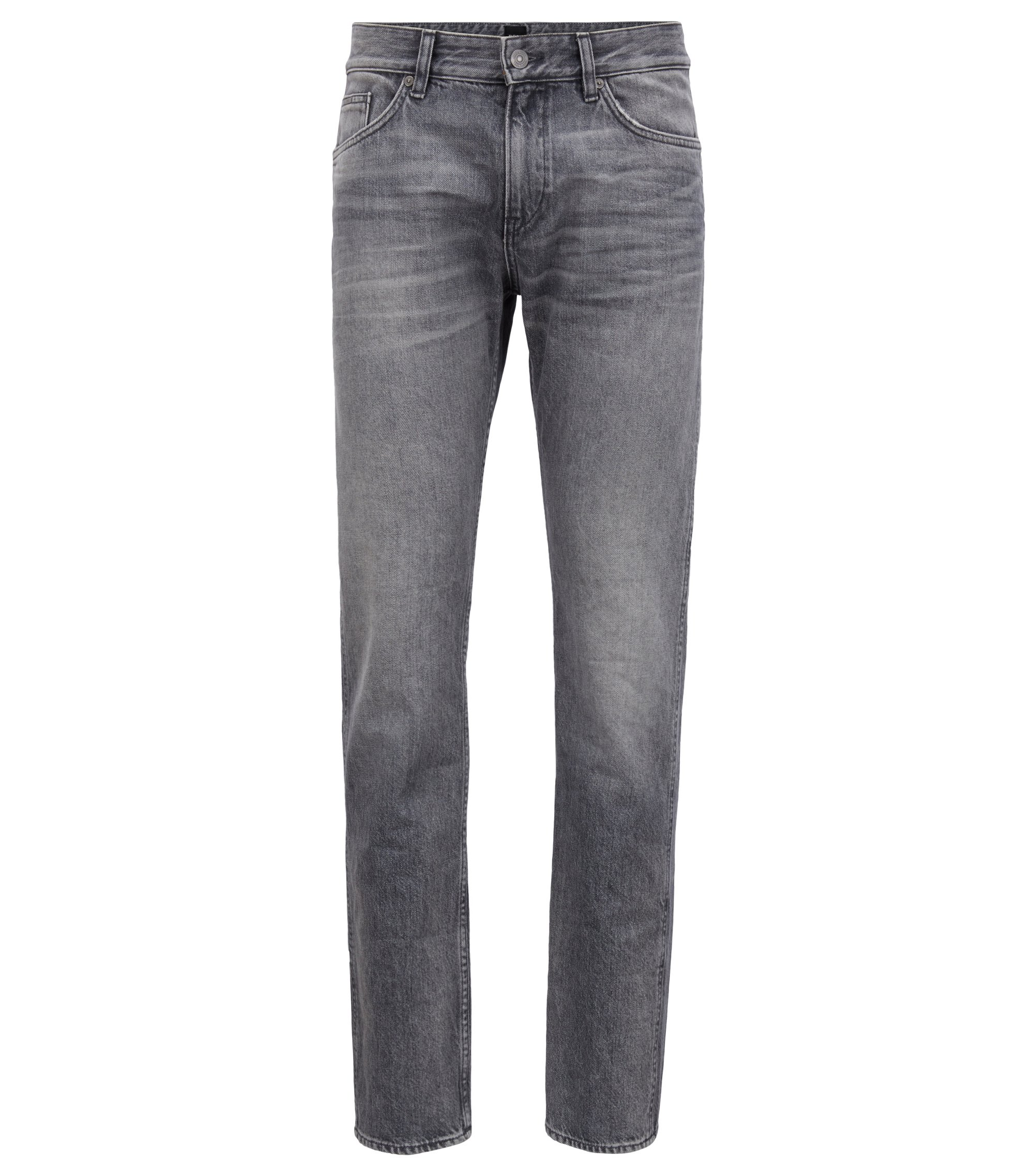 Jean Slim Fit en denim italien rigide gris, Gris