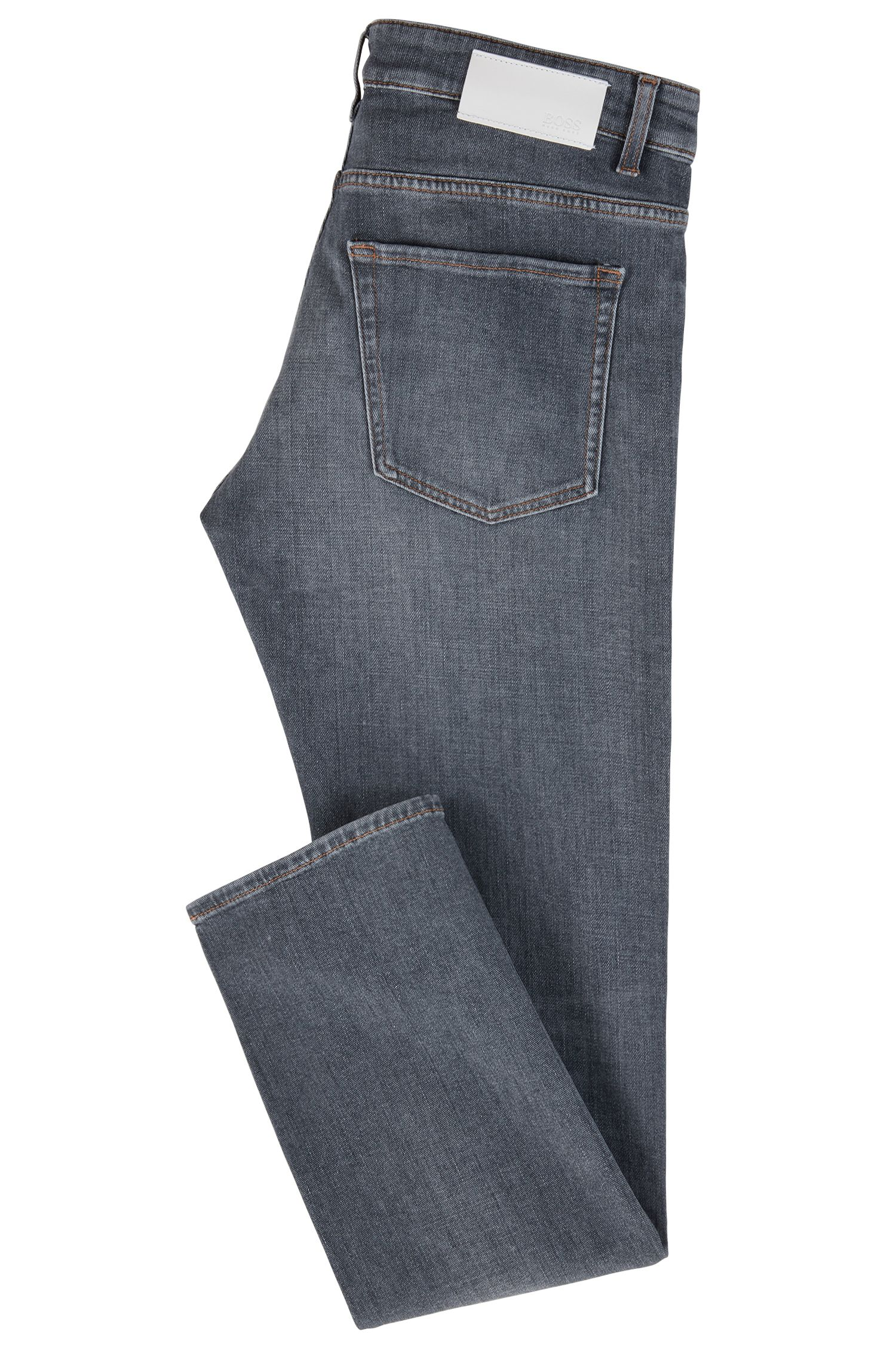 Slim-fit jeans van grijs, Italiaans stretchdenim in een linkse twill