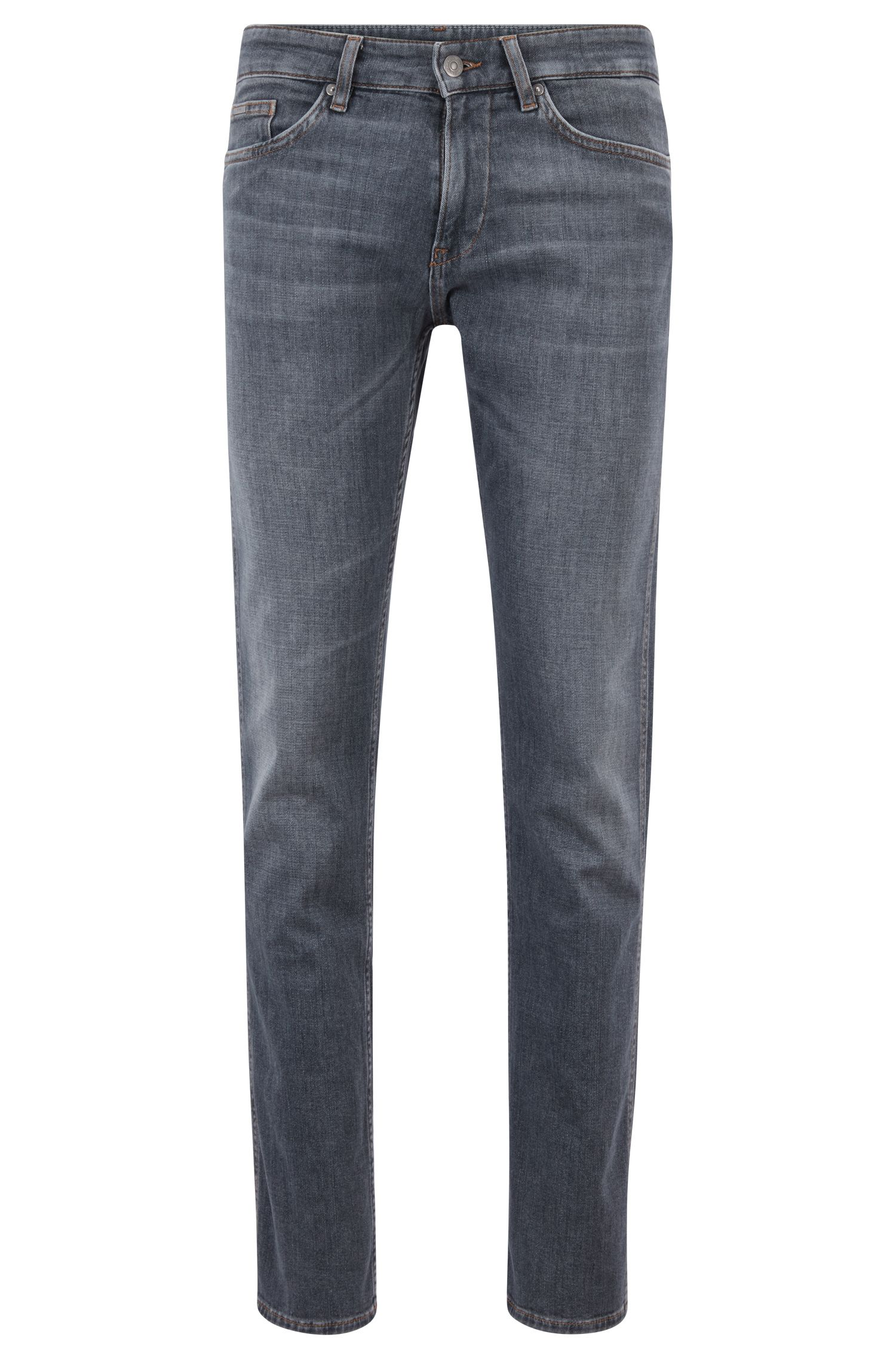 Vaqueros slim fit en denim elástico italiano cruzado de color gris, Gris marengo