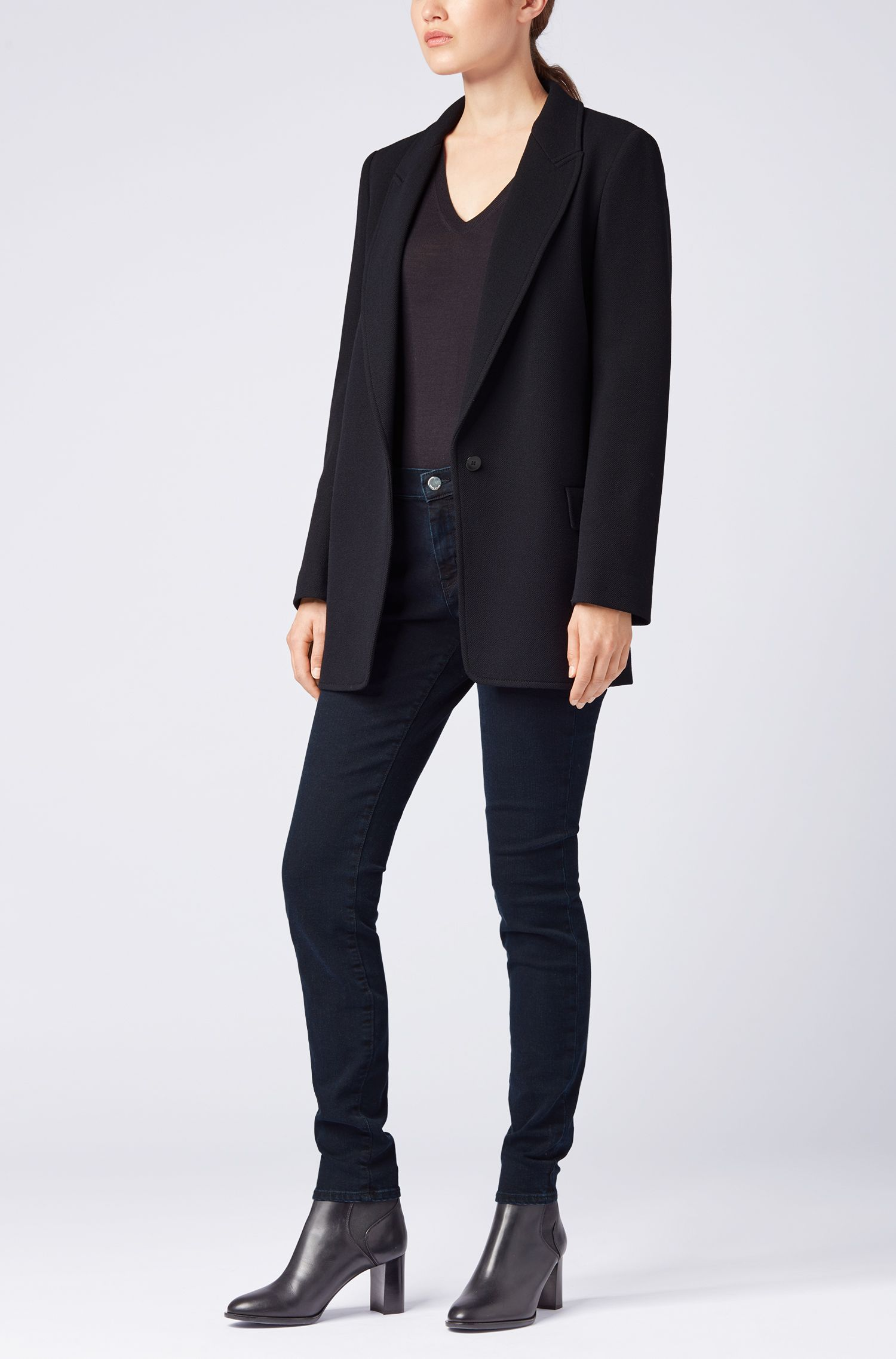 Jean Slim Fit en denim super stretch bleu-noir, Bleu foncé