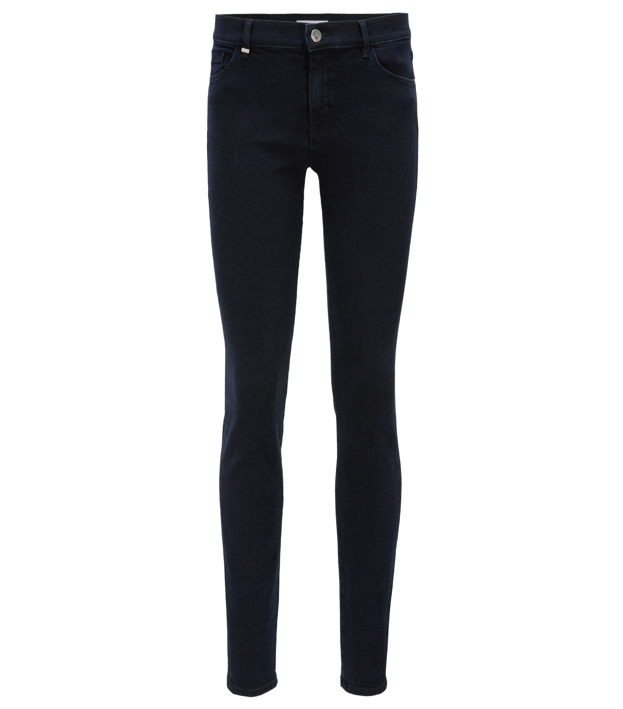 Jeans slim fit in denim super elasticizzato blu scuro, Blu scuro