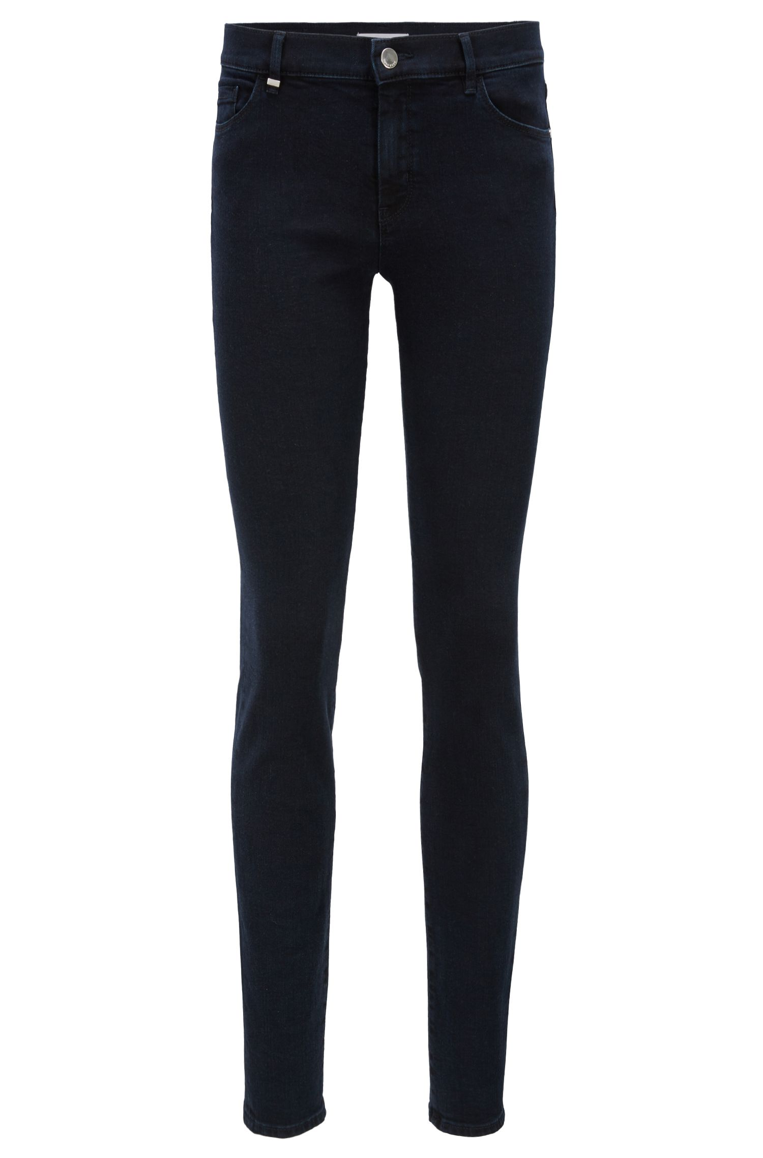 Slim-fit jeans van blauwzwart superstretchdenim