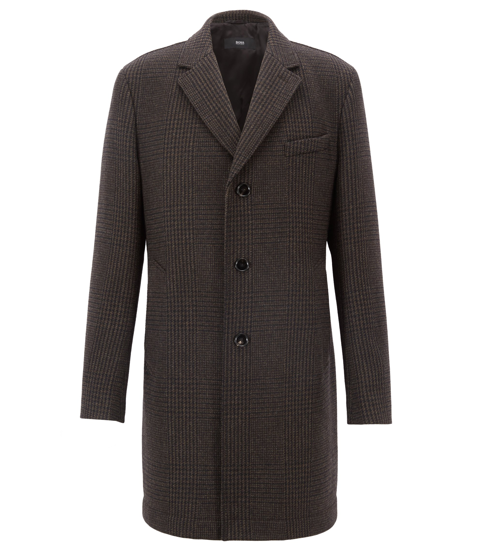 Cappotto slim fit in misto lana vergine a quadri, Marrone scuro