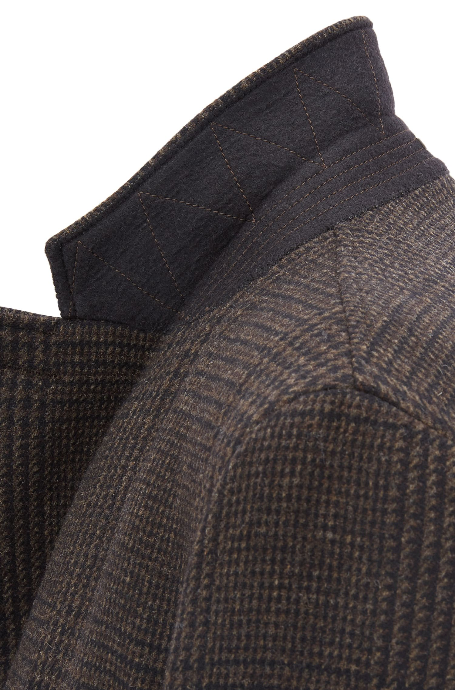 Manteau Slim Fit en laine vierge mélangée à carreaux, Marron foncé