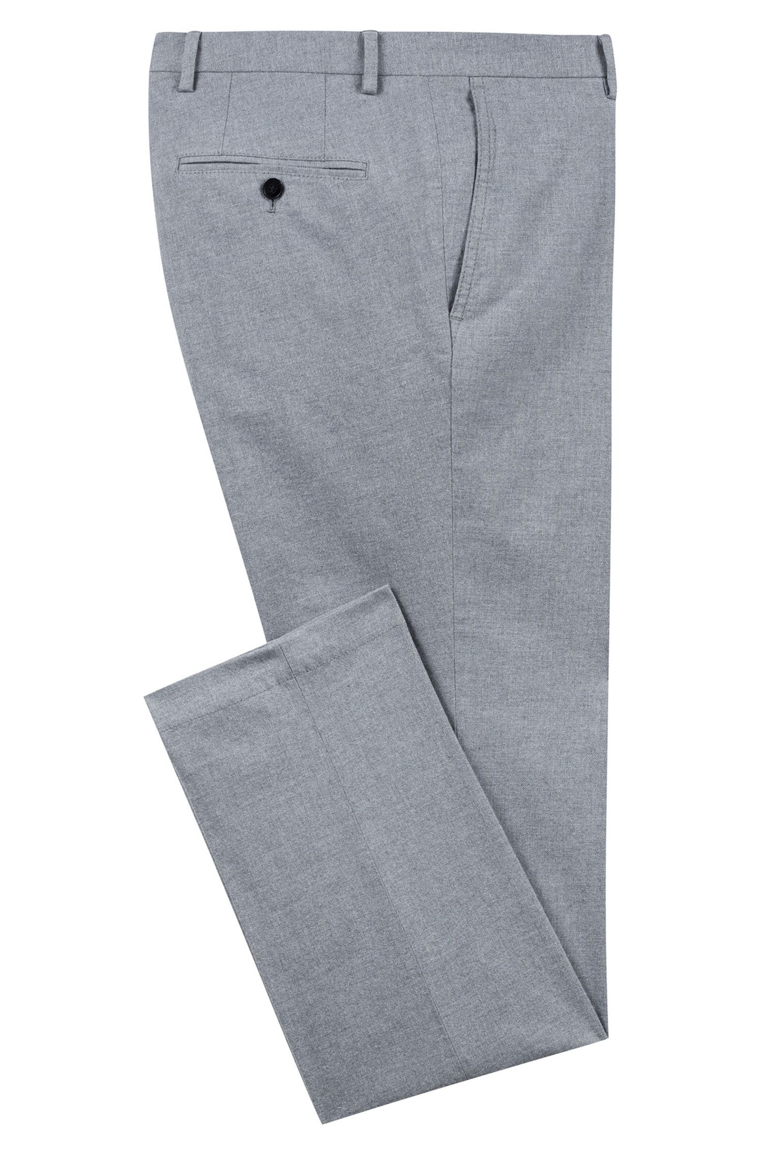 Slim-Fit Flanellhose aus Stretch-Baumwolle, Grau