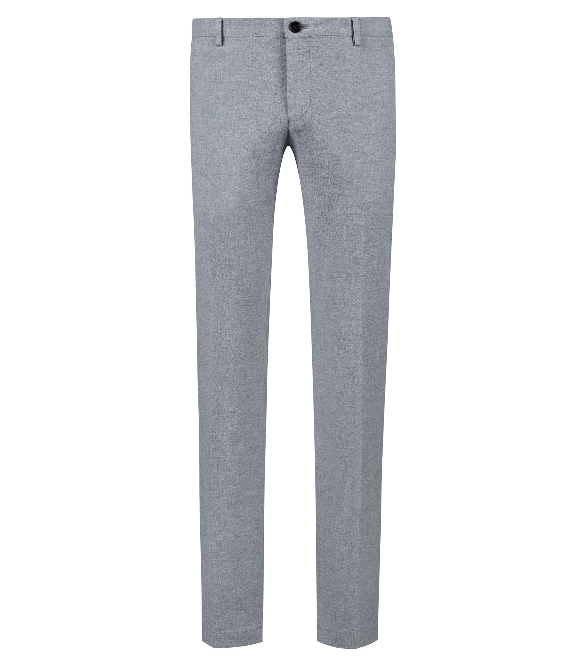 Pantalon Slim Fit en flanelle de coton stretch, Gris