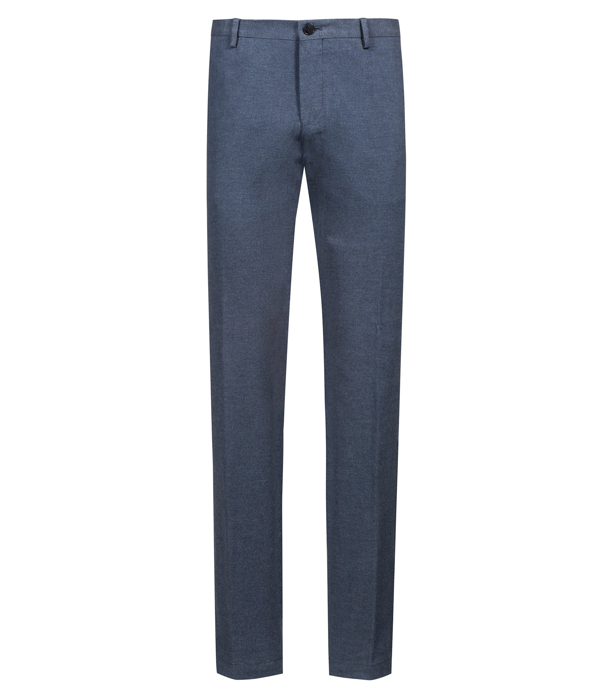 Slim-fit trousers in stretch-cotton flannel, Dark Blue