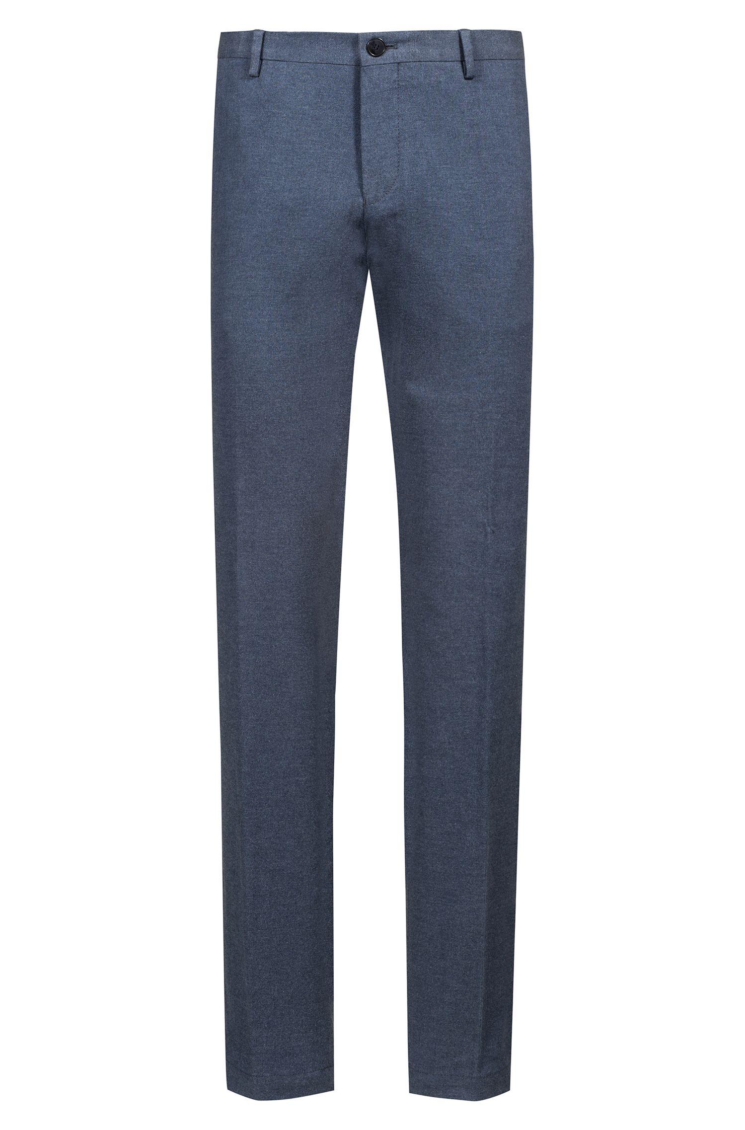Pantalones slim fit de franela en algodón elástico, Azul oscuro