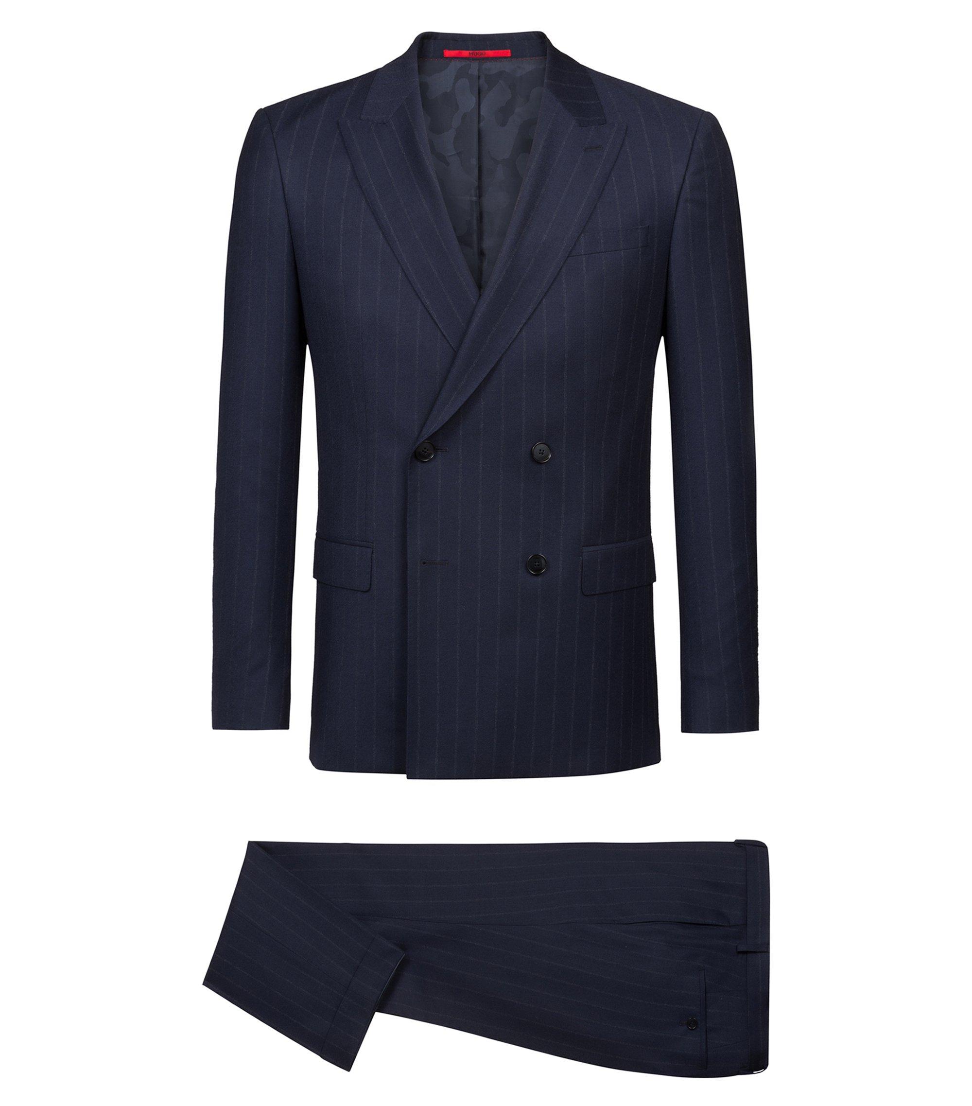 Abito slim fit gessato in lana vergine realizzata in Italia, Blu scuro