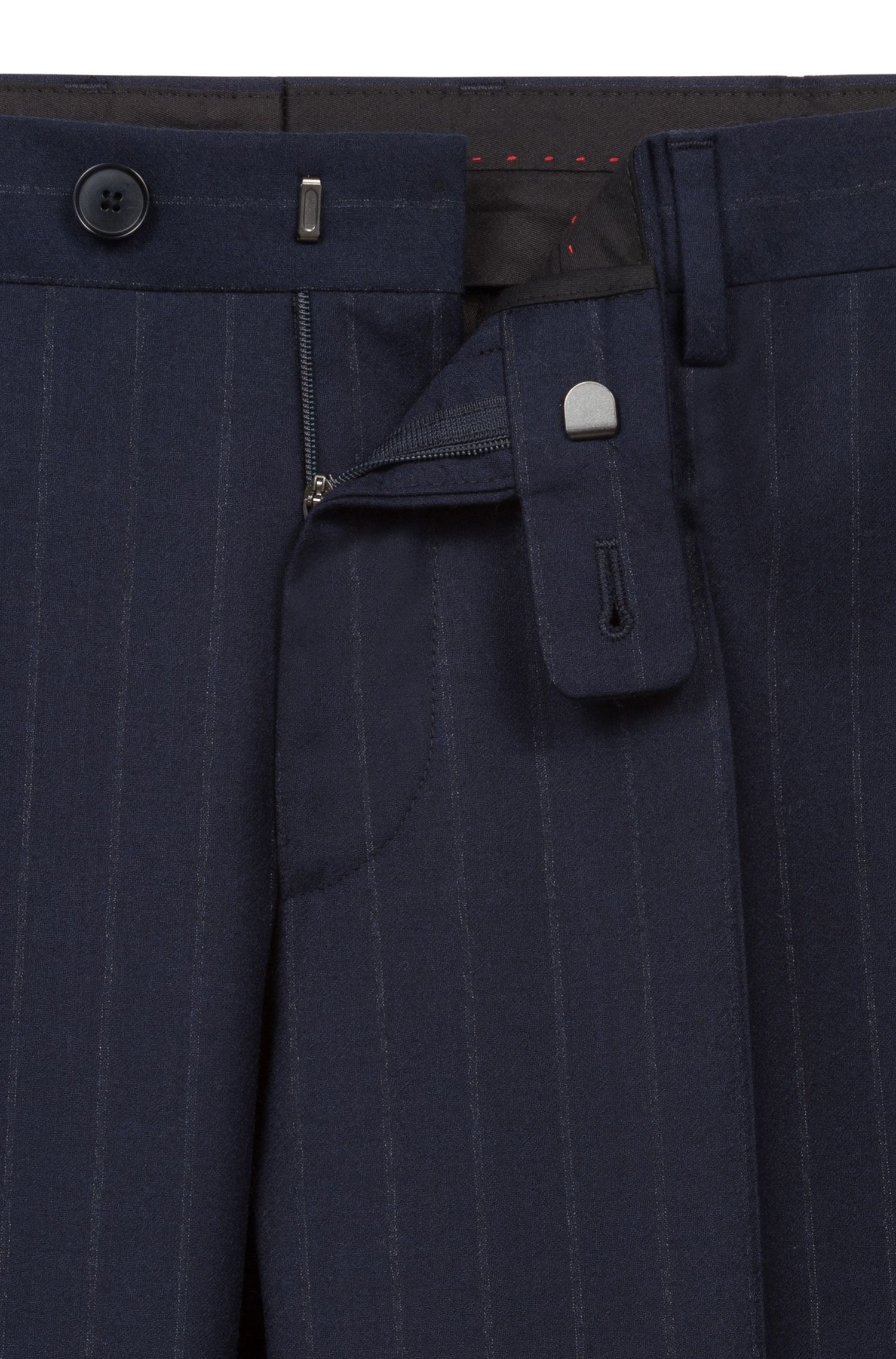 Costume Slim Fit en laine vierge italienne à rayures tennis
