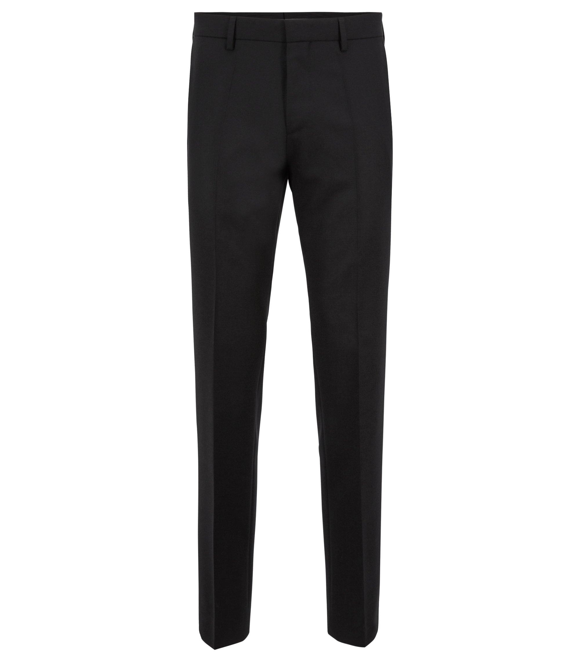 Slim-fit broek van scheerwol met details aan de binnenkant, Zwart