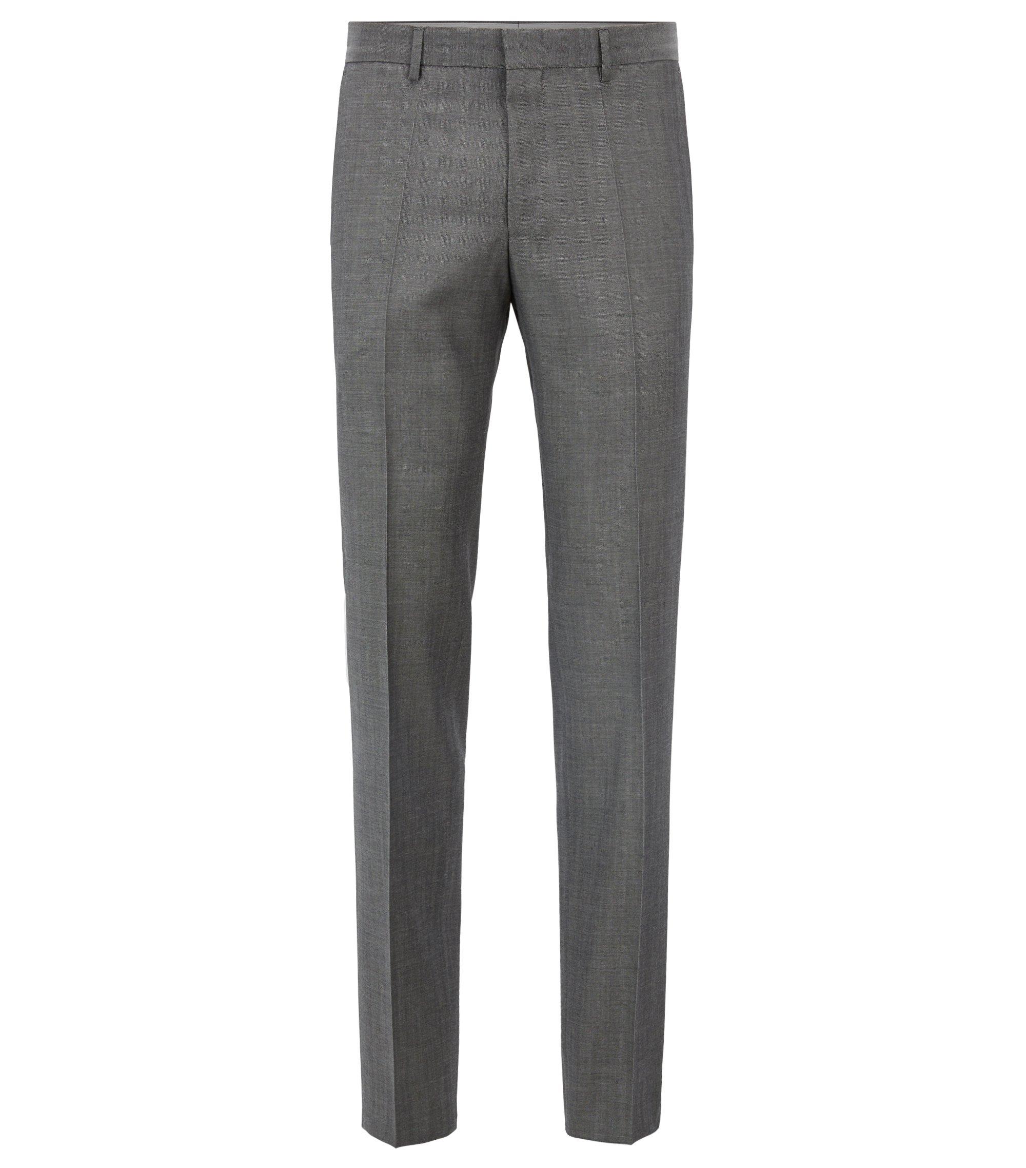 Slim-fit pantalon van scheerwol in mohairlook, Grijs