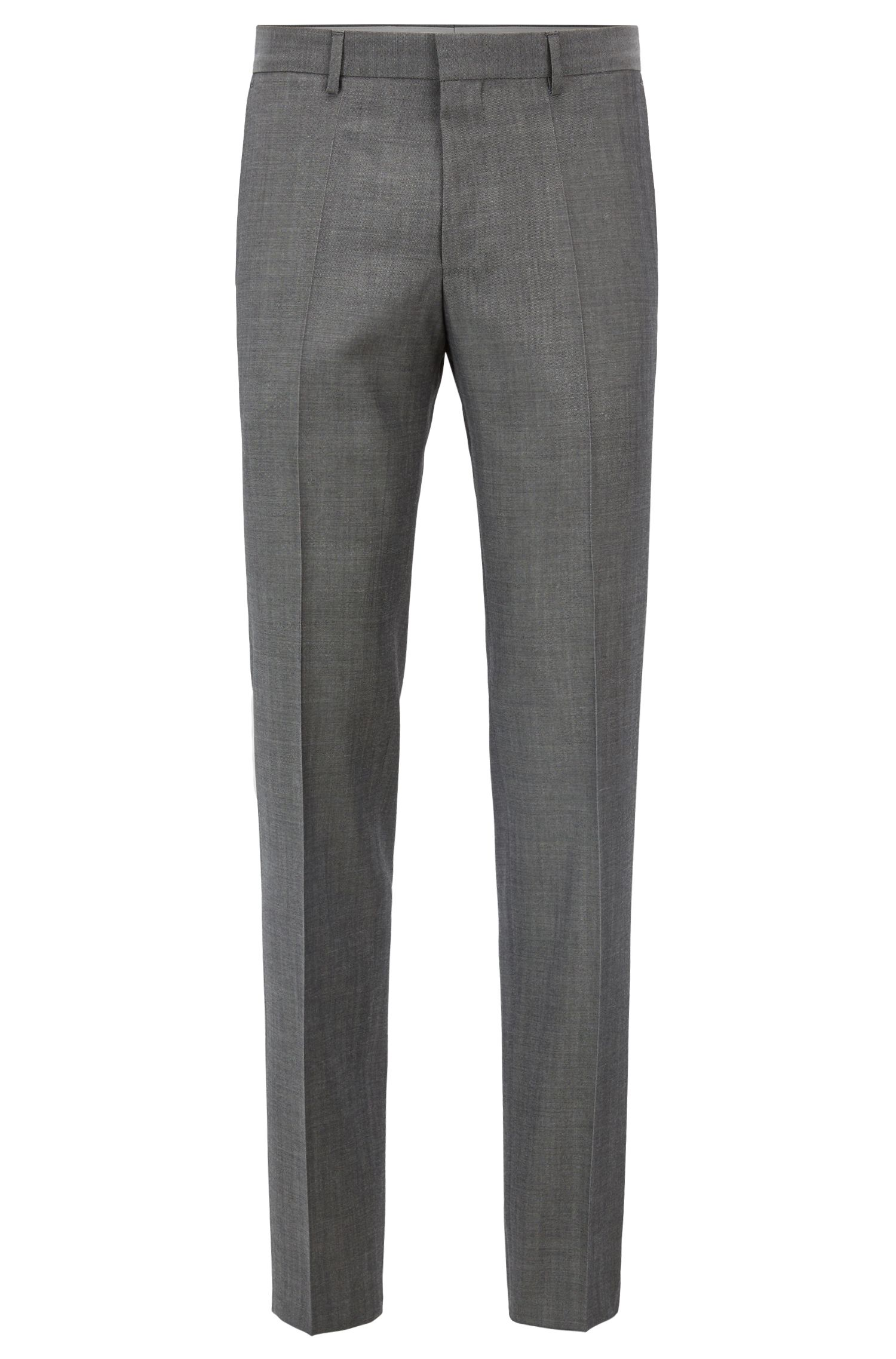 Slim-fit pantalon van scheerwol in mohairlook, Grijs