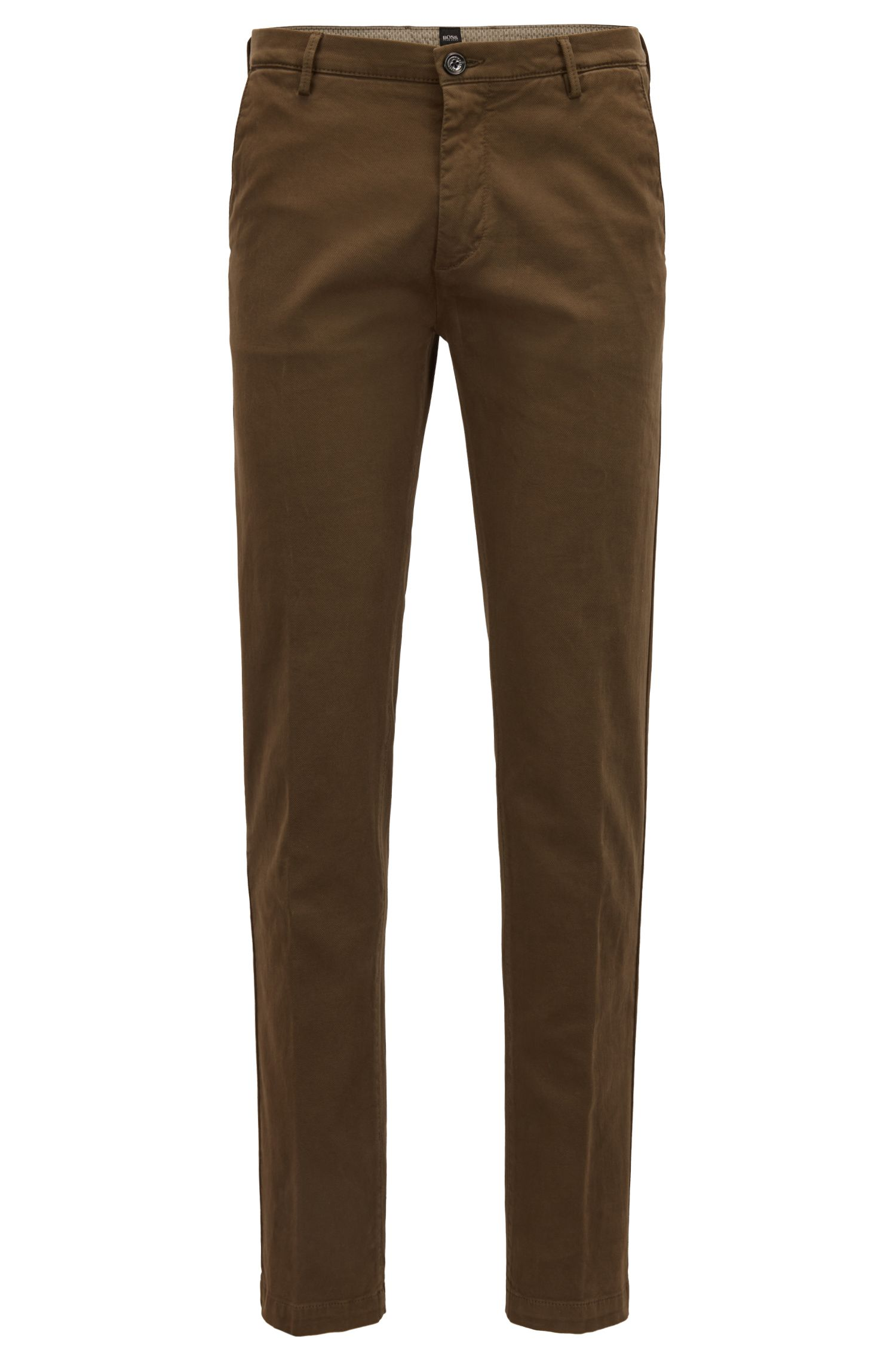 Slim-fit chinos in Italian stretch-cotton canvas, Dark Green