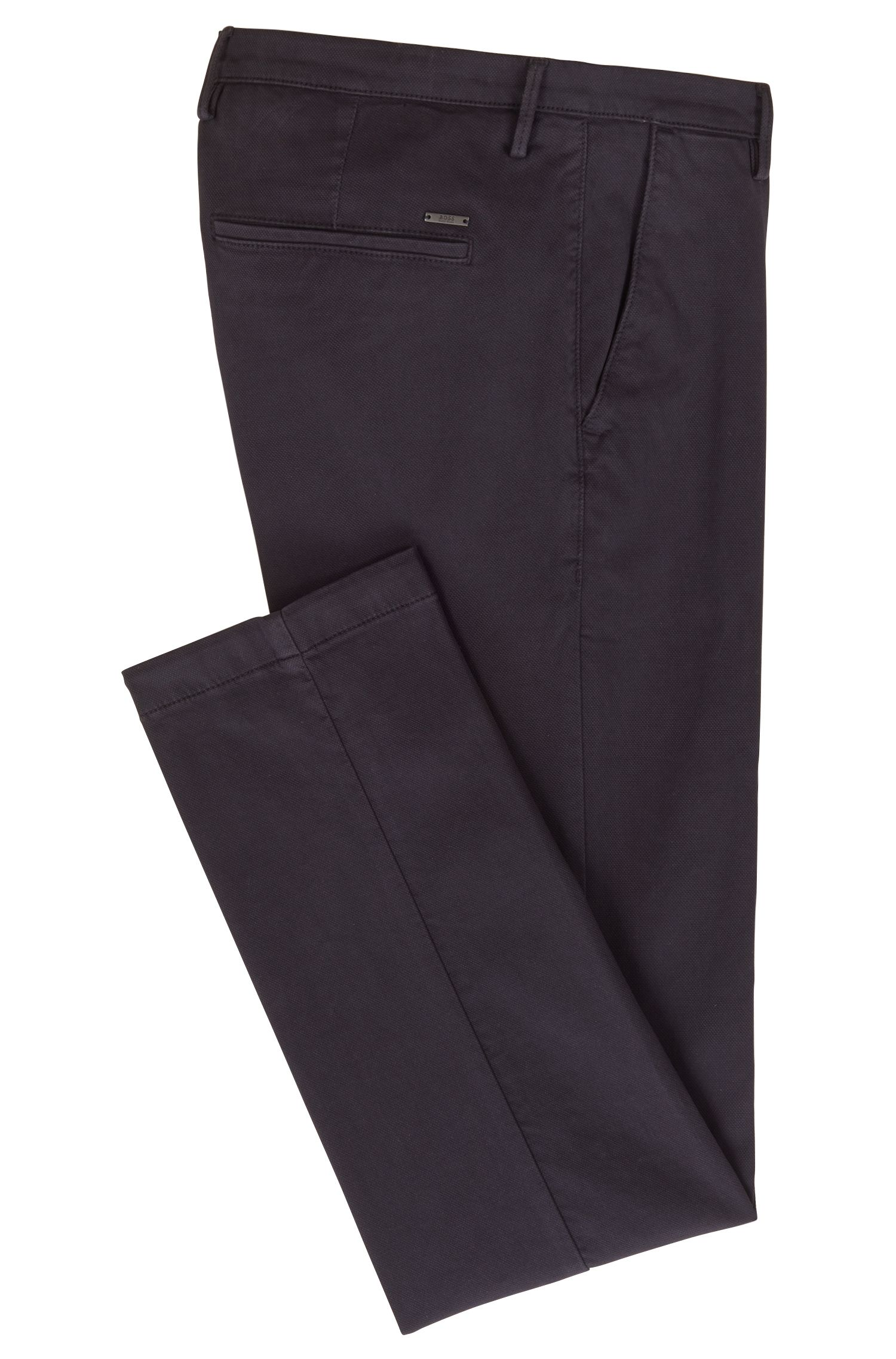 Slim-fit chinos in Italian stretch-cotton canvas, Blue