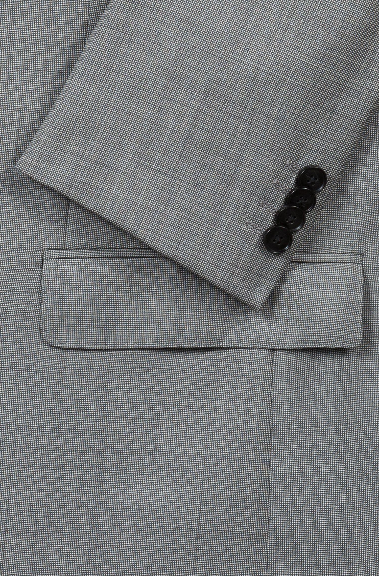 Regular-fit kostuum van scheerwol met microdessin, Grijs