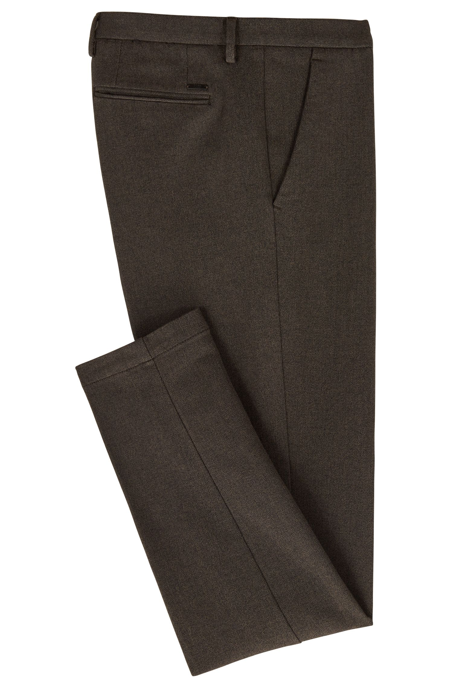 Chino slim fit in twill di cotone mouliné elasticizzato, Marrone scuro