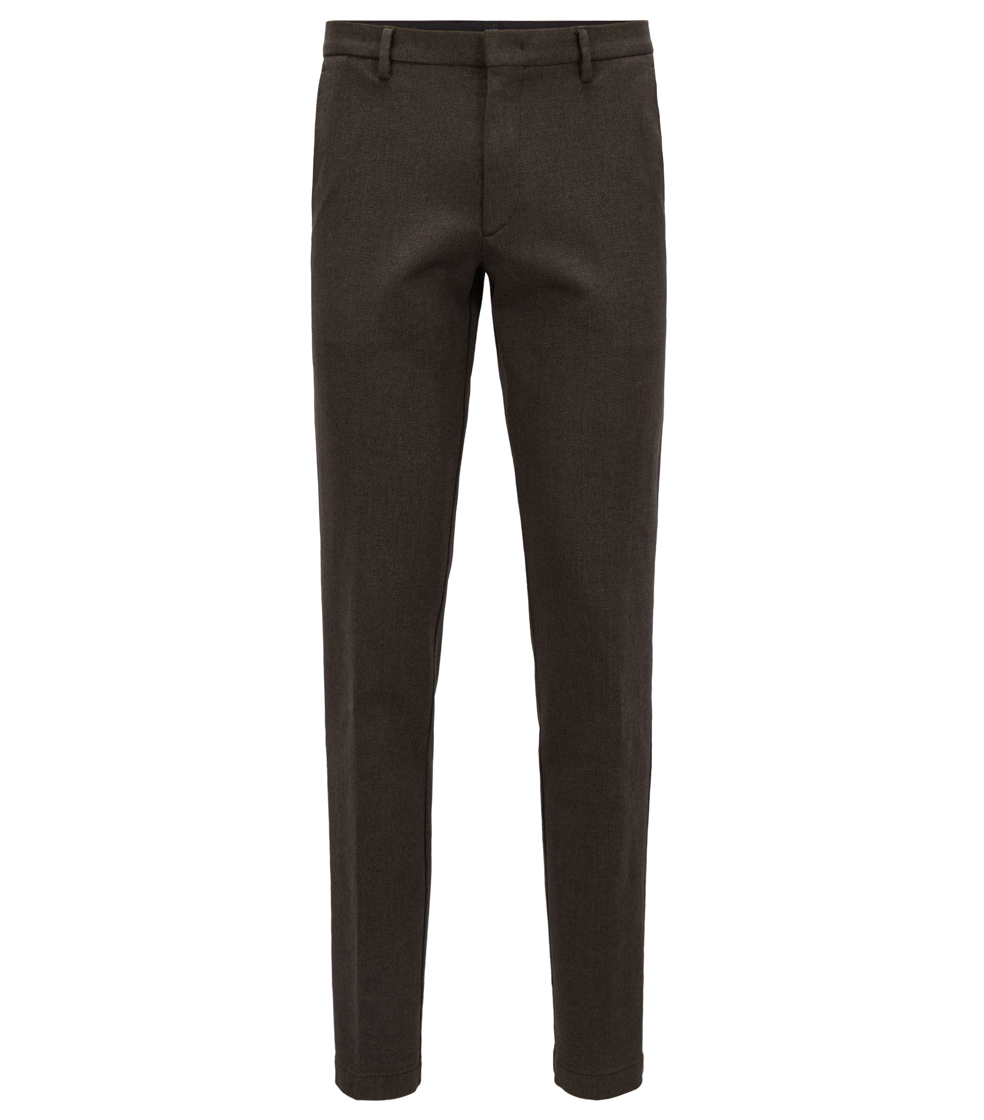 Chino Slim Fit en twill de coton mouliné stretch, Marron foncé