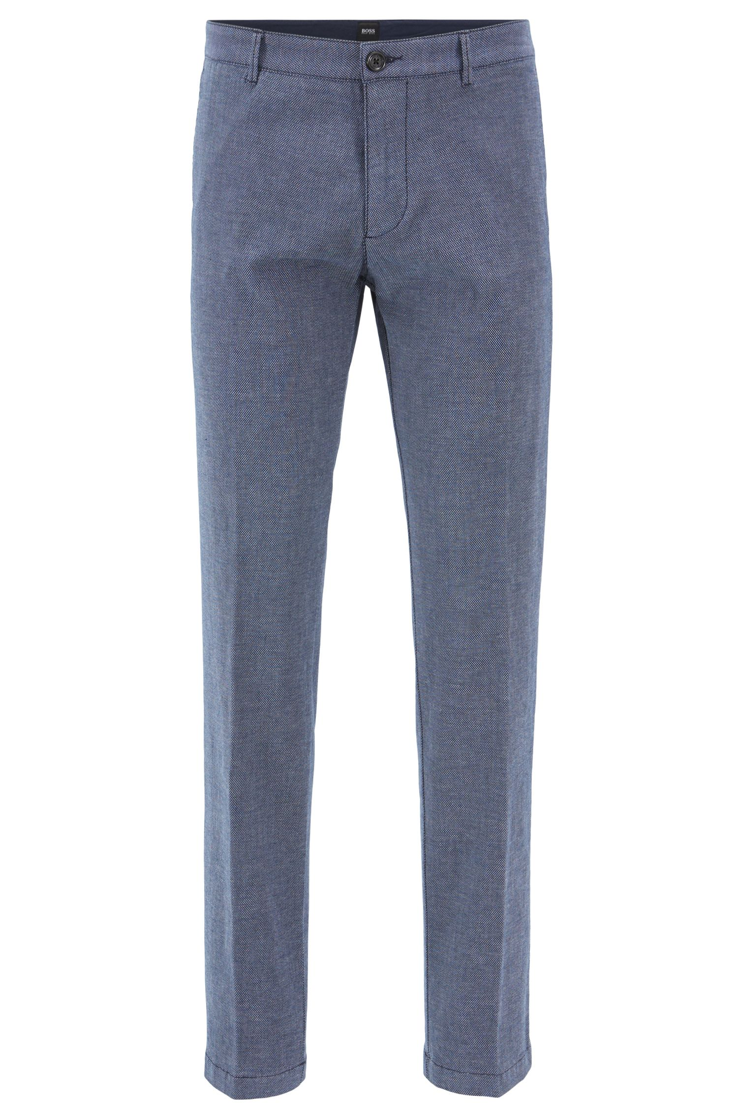 Regular-fit chinos in micro-patterned stretch cotton, Dark Blue