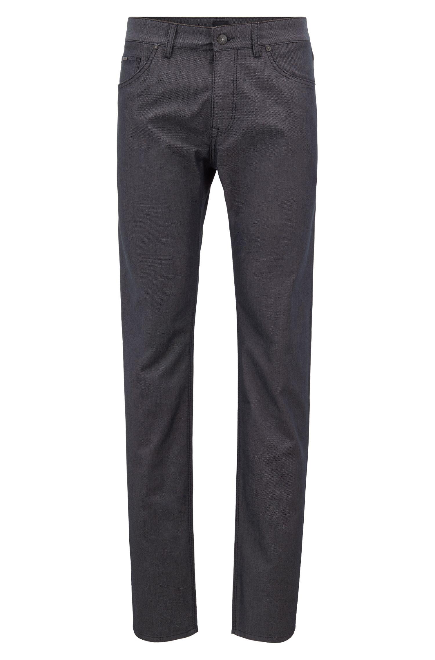 Regular-fit jeans van tweekleurig stretchdenim, Zwart