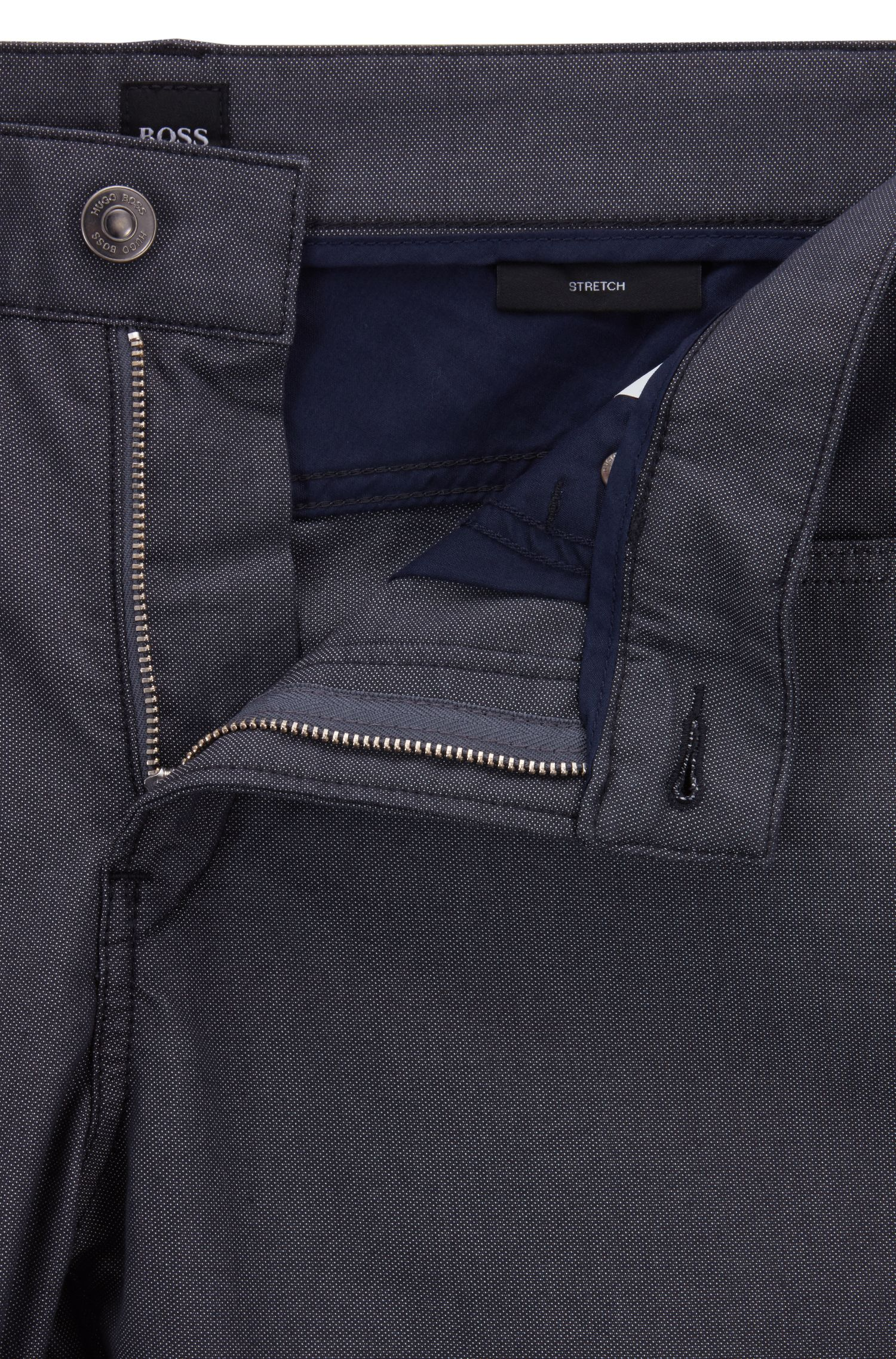 Slim-Fit Jeans aus zweifarbigem Stretch-Denim, Dunkelblau