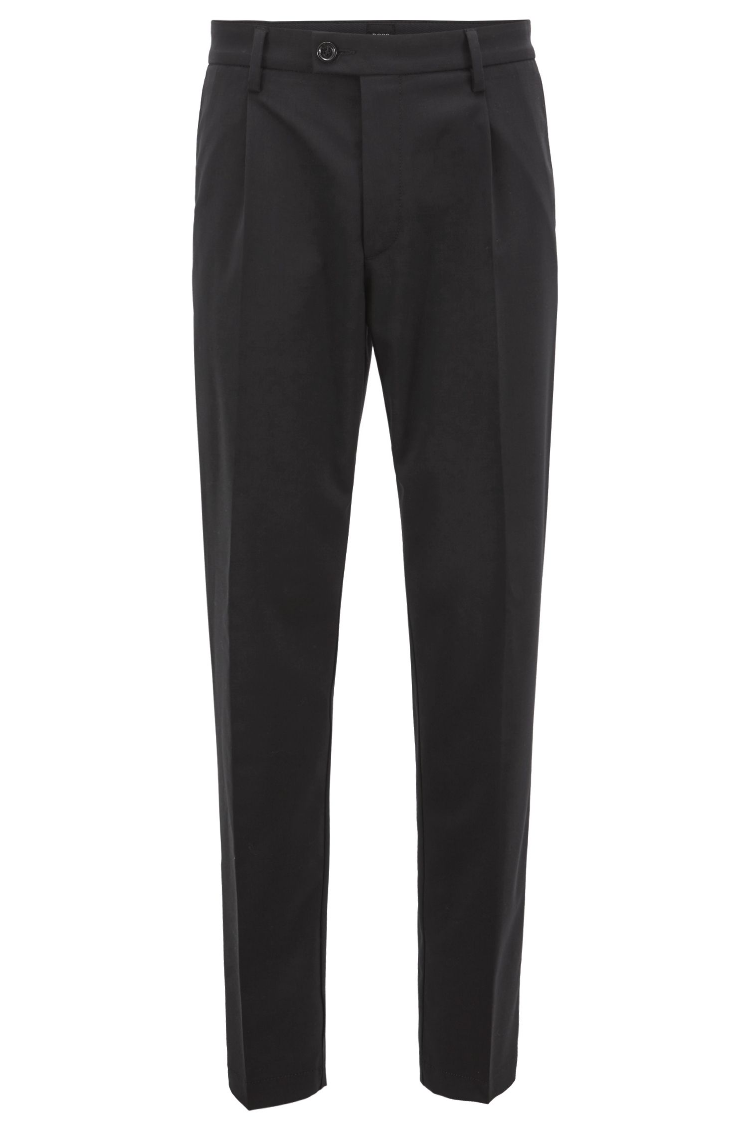 Regular-fit chinos in a mercerised stretch-wool blend, Black