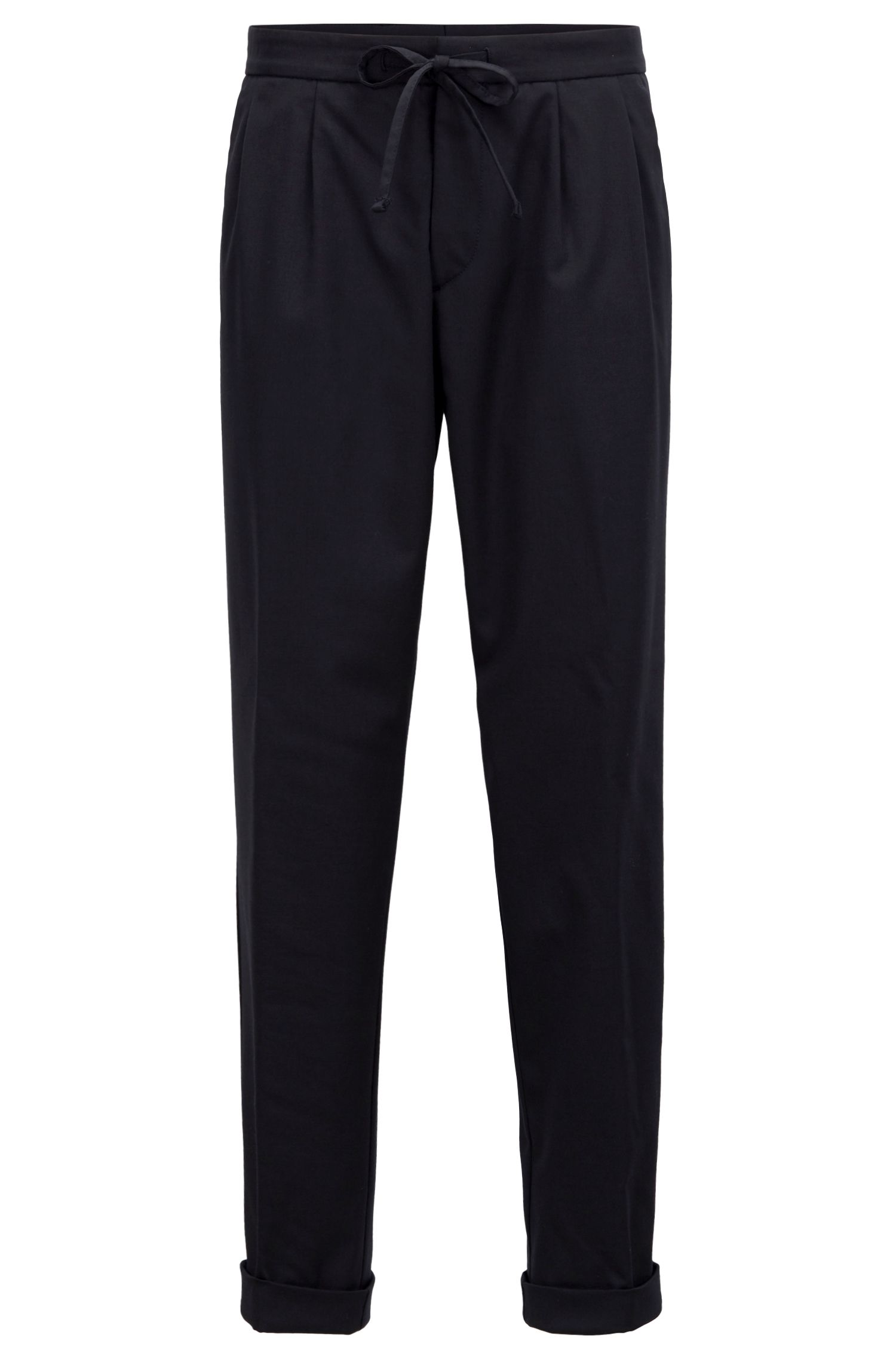 Relaxed-fit chino van een wolmix met stretch, Blauw