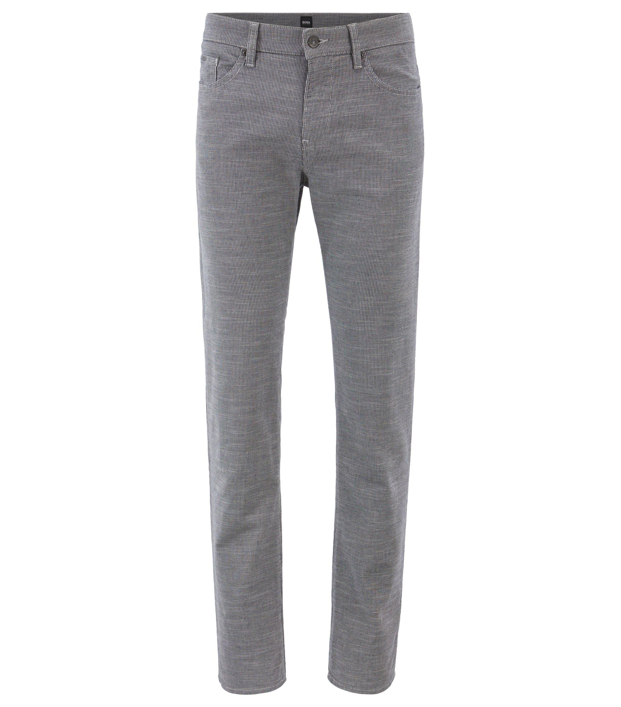 Fein gemusterte Slim-Fit Jeans aus italienischem Stretch-Denim, Grau