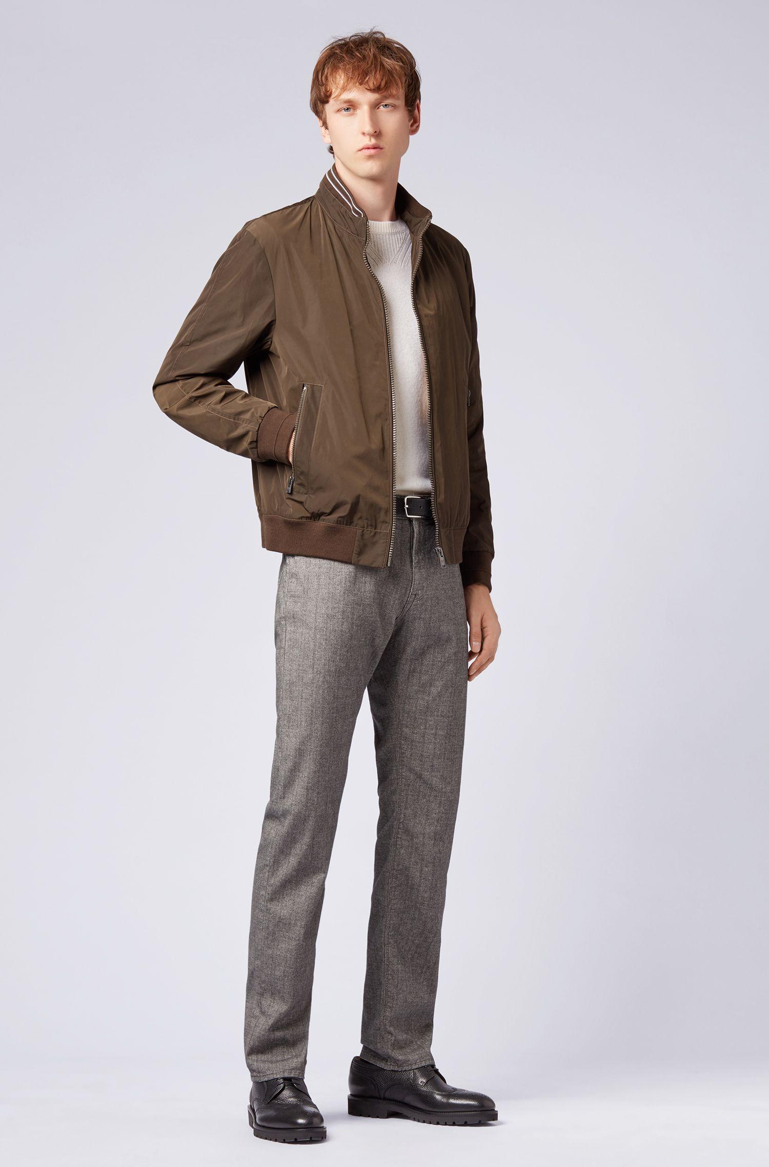 Jeans regular fit in tessuto elasticizzato con stampa a quadri, Grigio