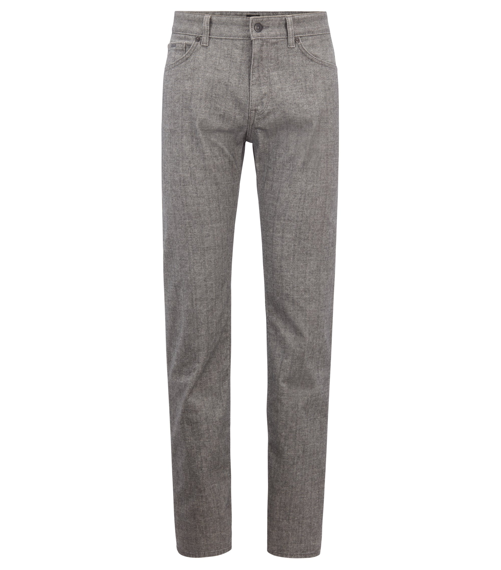 Regular-fit jeans in stretch fabric with printed check, Grey