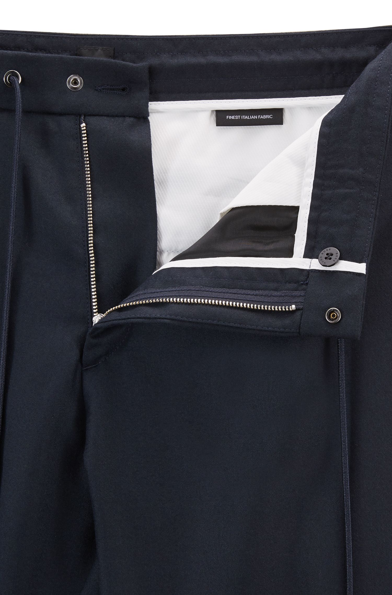 Chino relaxed fit in flanella di lana vergine con fondo gamba elastico, Blue Scuro