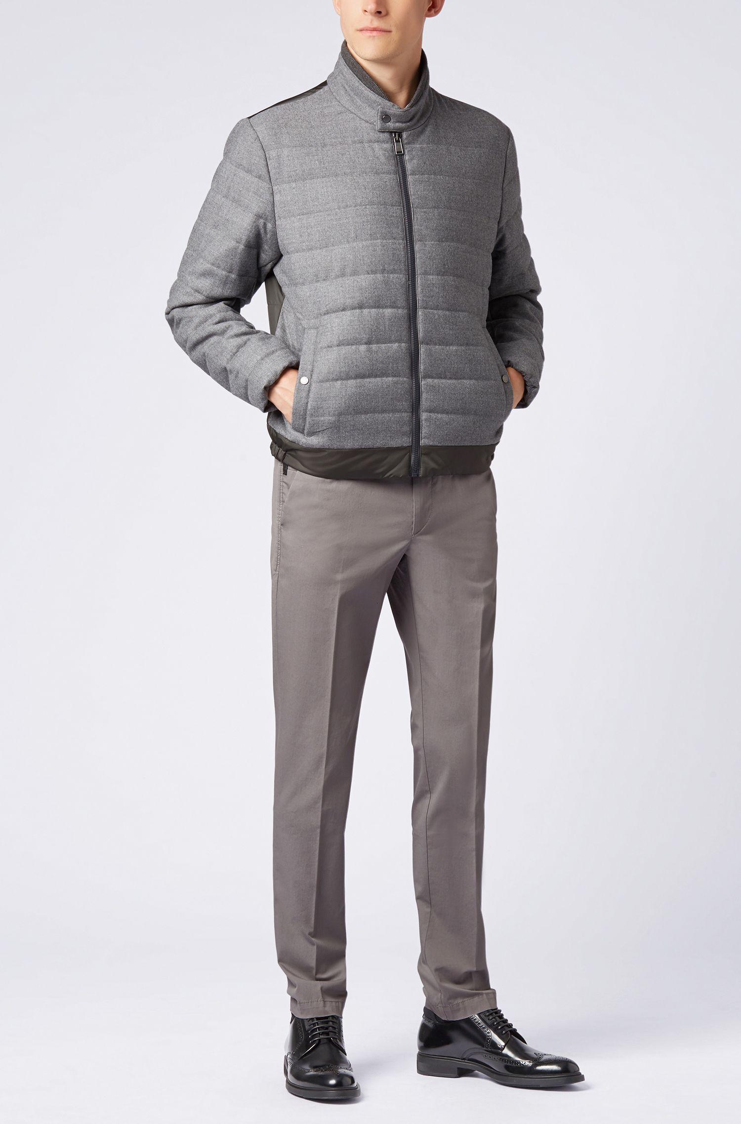 Chino Slim Fit en twill de coton stretch mercerisé, Gris chiné