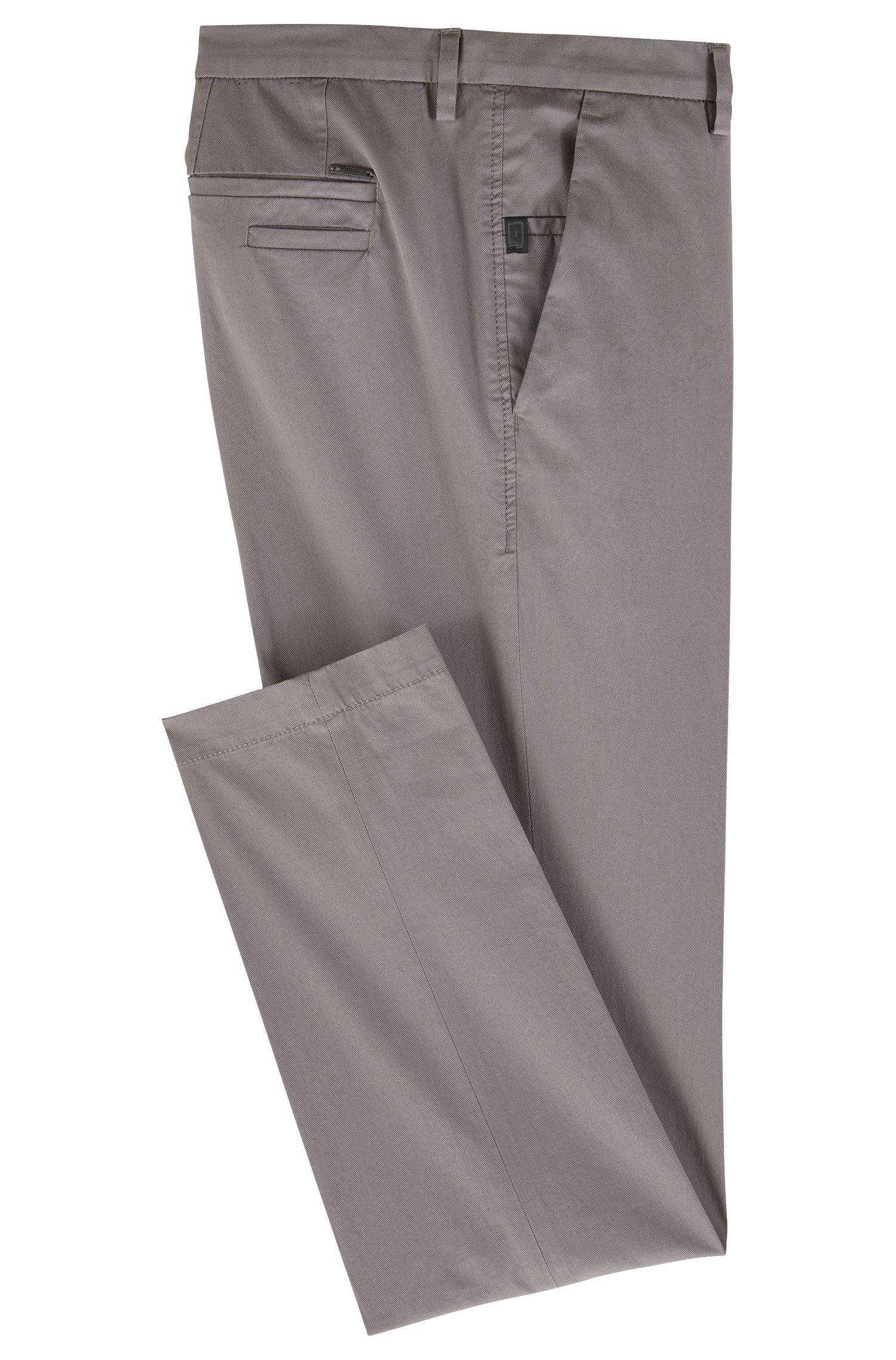 Chinos slim fit en sarga de algodón elástico mercerizado, Gris claro