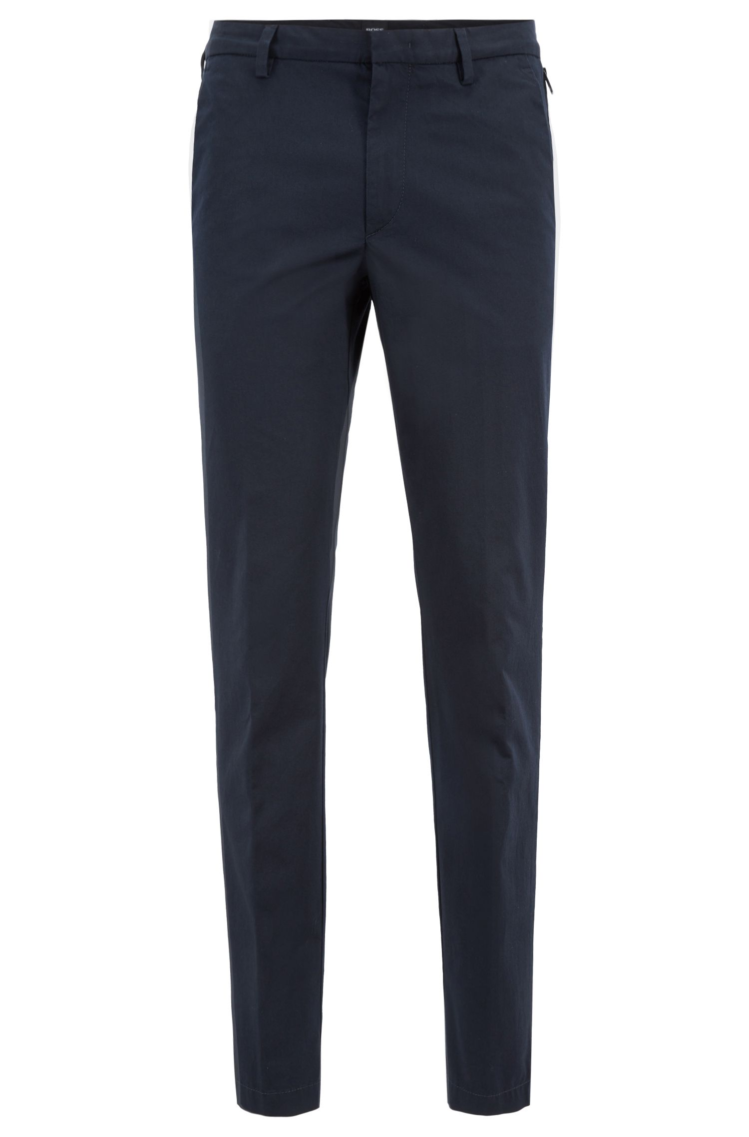 Slim-fit chinos in mercerised stretch-cotton twill, Blue