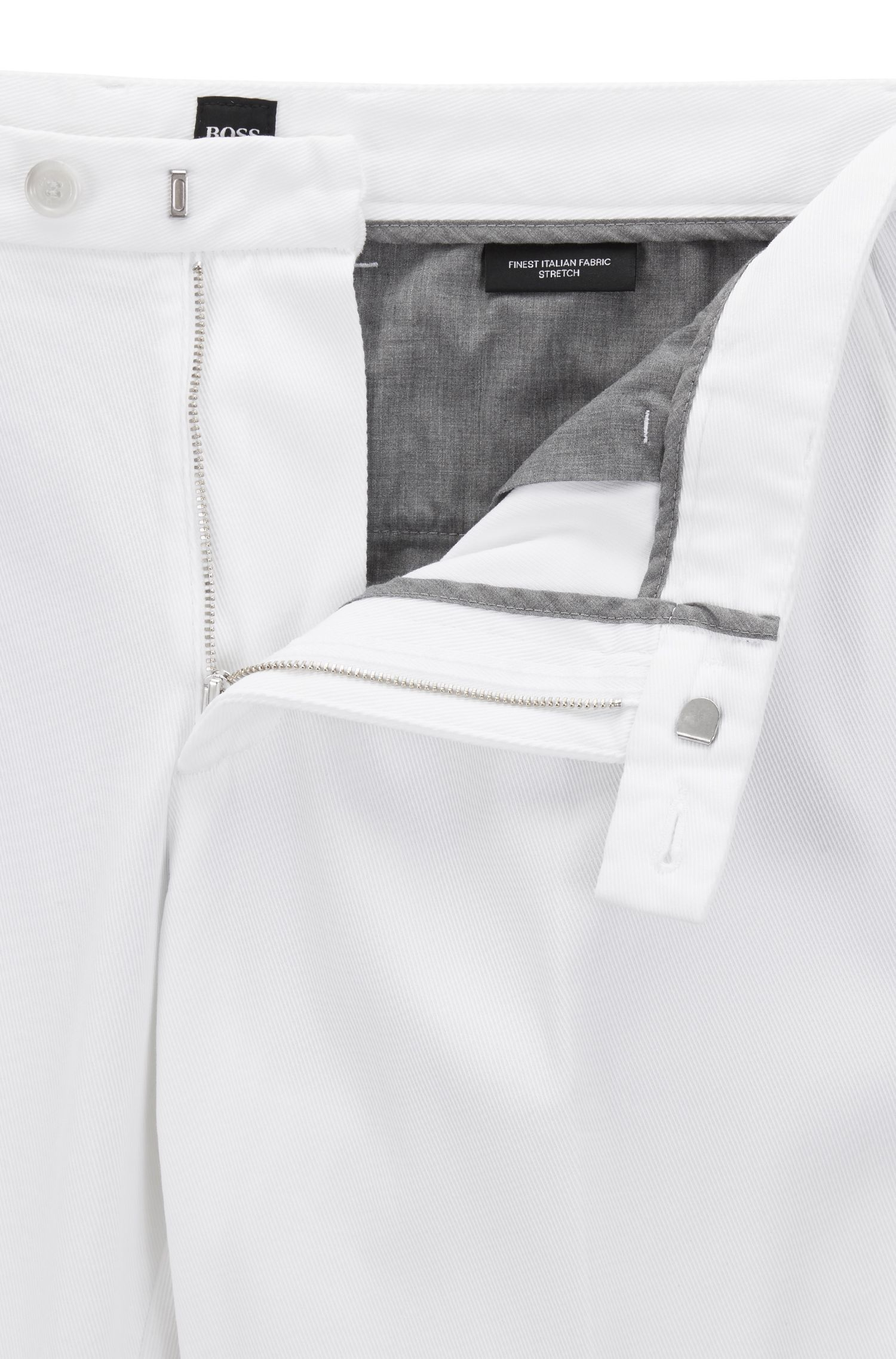 Regular-fit chino in een twill van Italiaanse stretchkatoen, Wit