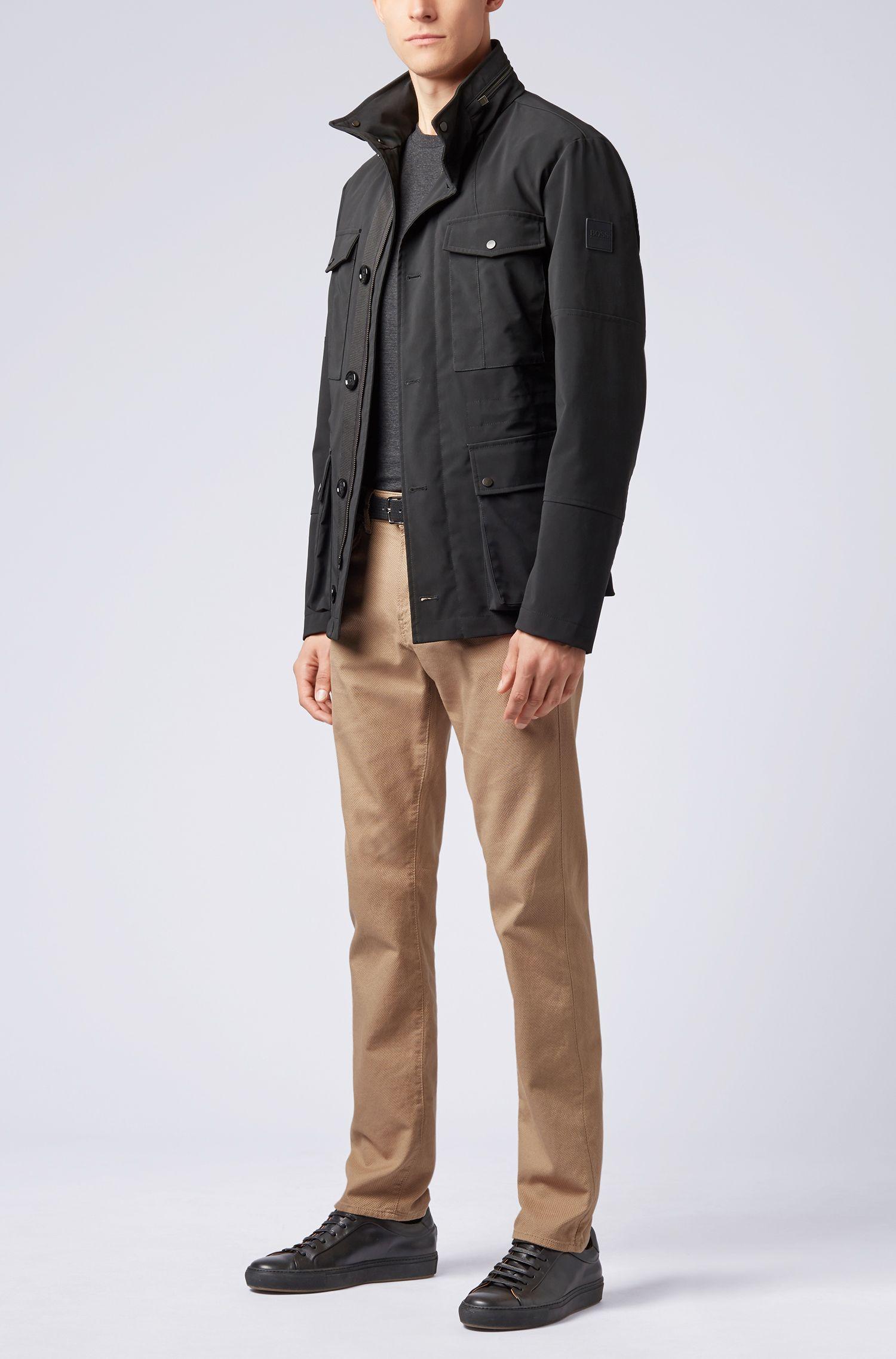 Slim-fit jeans van Italiaans stretchdenim met 3D-structuur, Beige