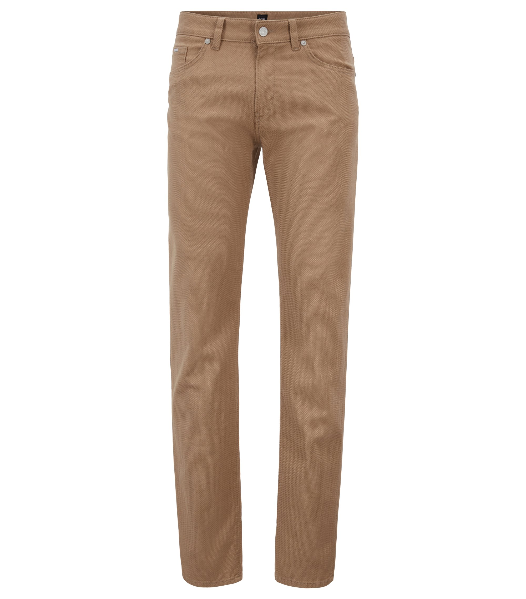 Slim-fit jeans in Italian 3D-structured stretch denim, Beige