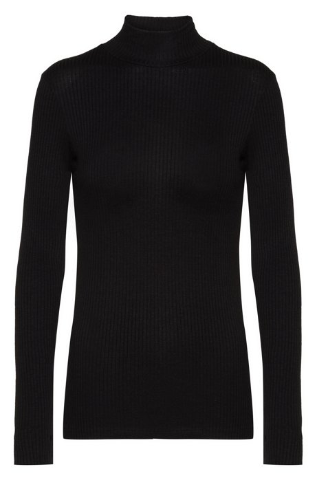 Slim-fit long-sleeved ribbed T-shirt with turtleneck, Black