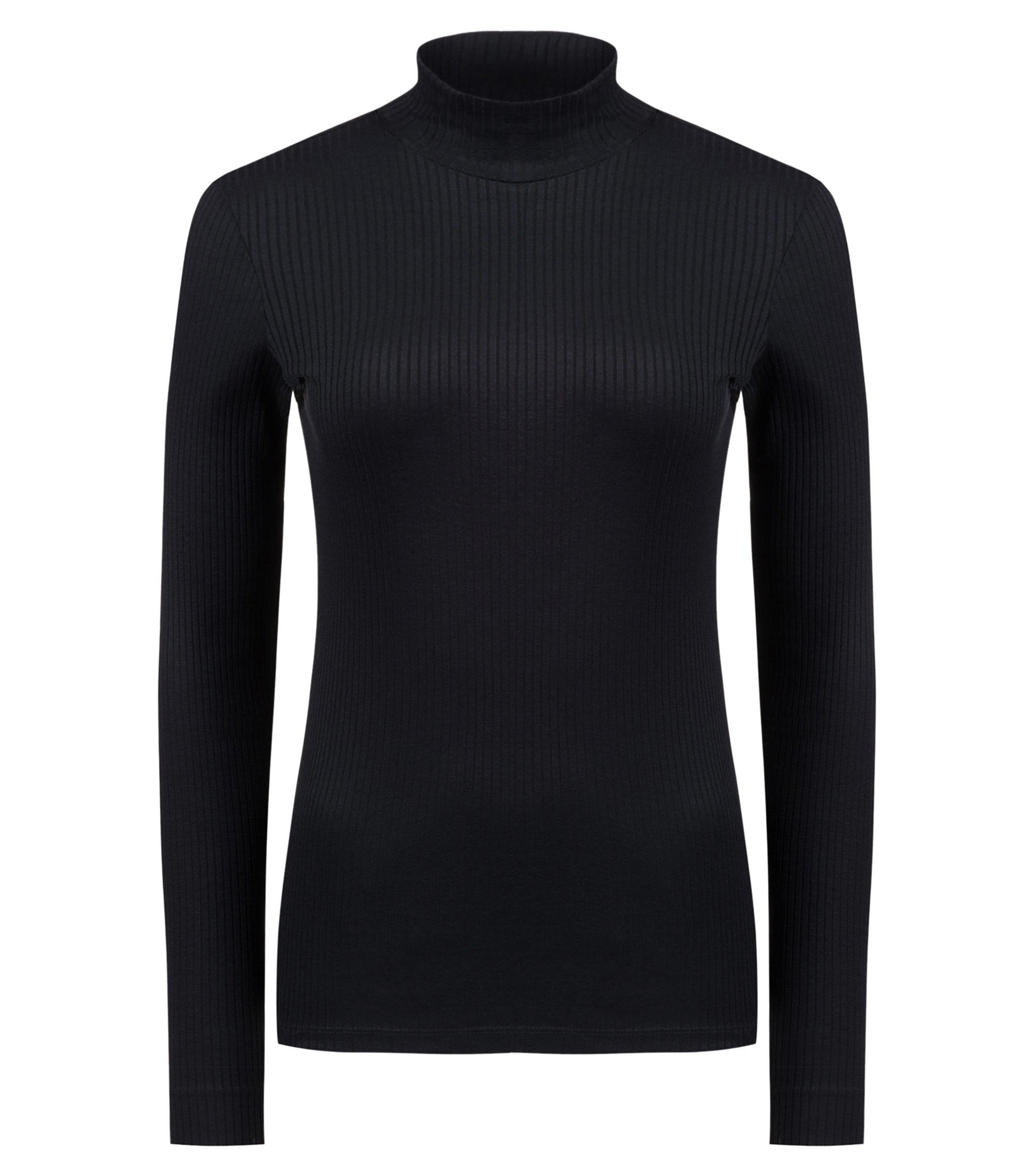 Camiseta slim fit de manga larga y canalé con cuello alto, Negro