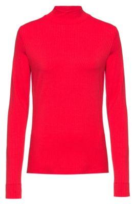 T-shirt Slim Fit côtelé à col cheminée et manches longues, Rouge