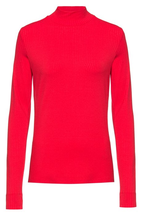 Camiseta slim fit de manga larga y canalé con cuello alto, Rojo