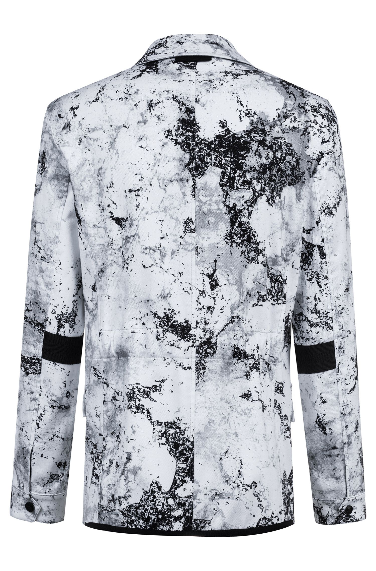 Regular-fit blazer in stretch cotton with collection pattern, Open White