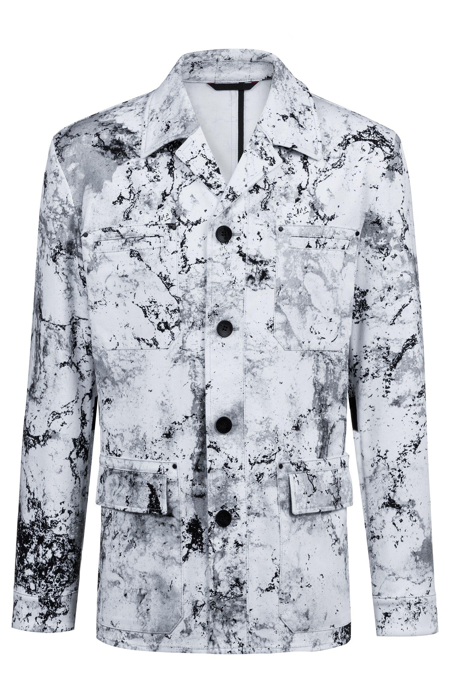 Blazer regular fit en algodón elástico con estampado de la colección, Blanco