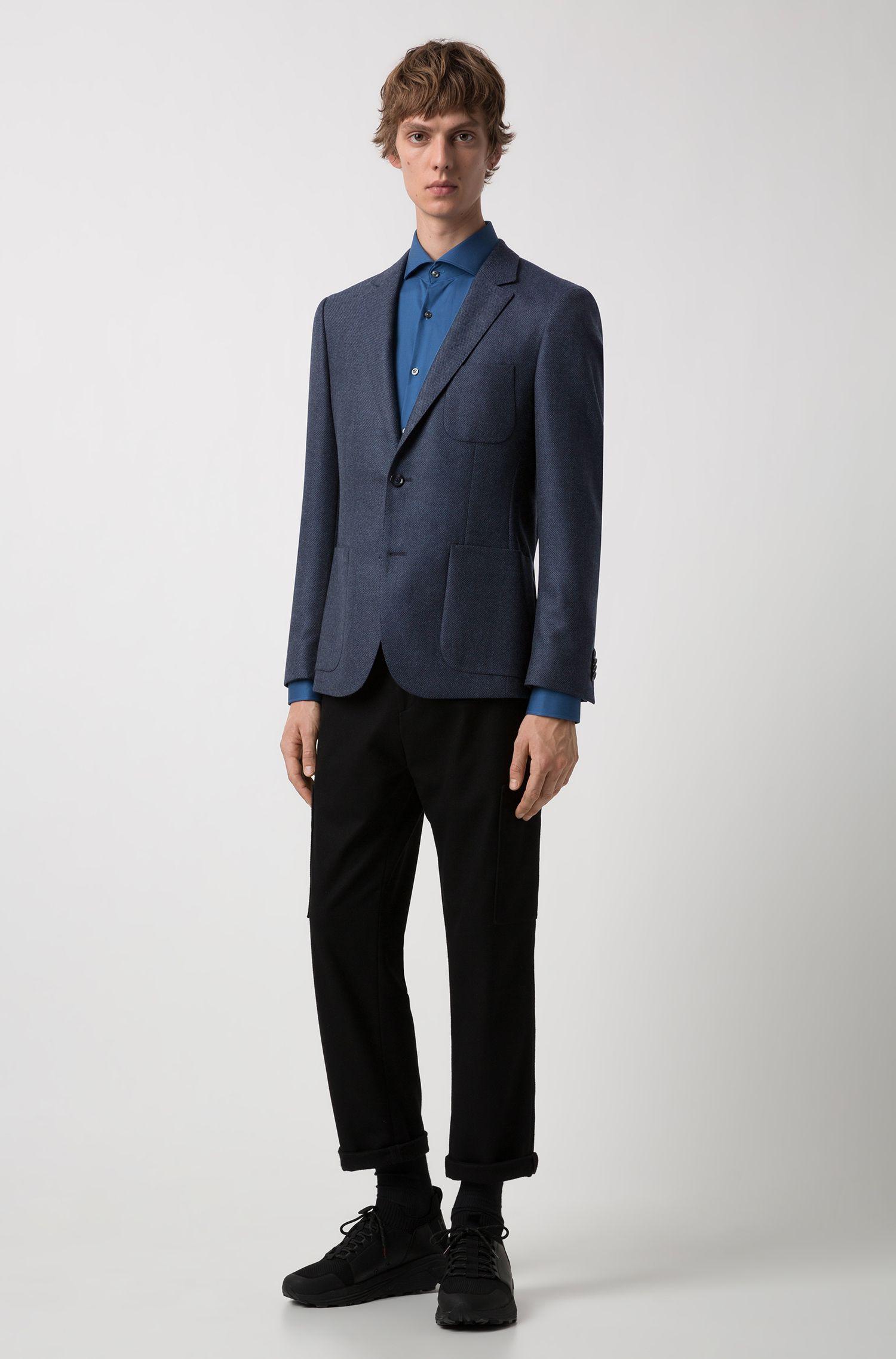 Chaqueta extra slim fit en lana virgen con microestructura, Azul oscuro