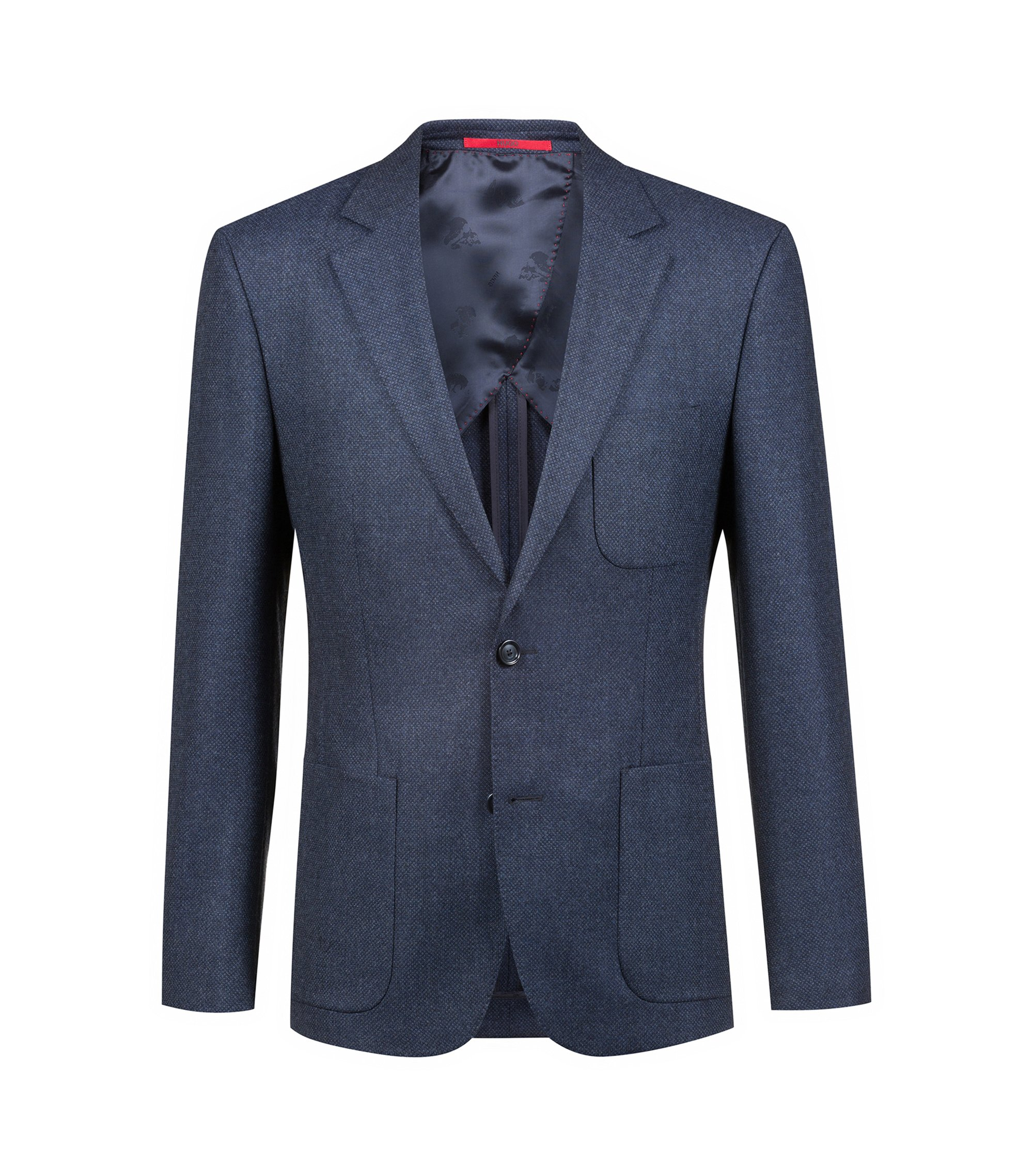 Extra-slim-fit jacket in micro-structure virgin wool, Dark Blue