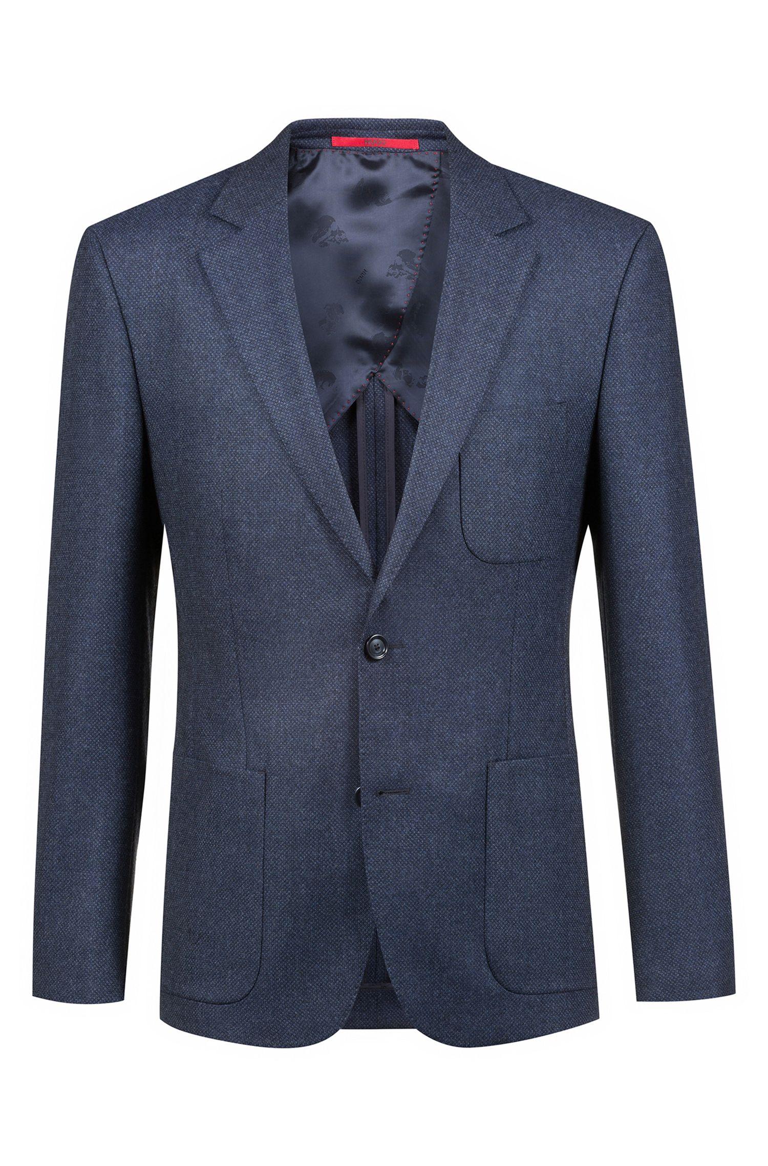 Giacca extra slim fit in lana vergine con microlavorazione