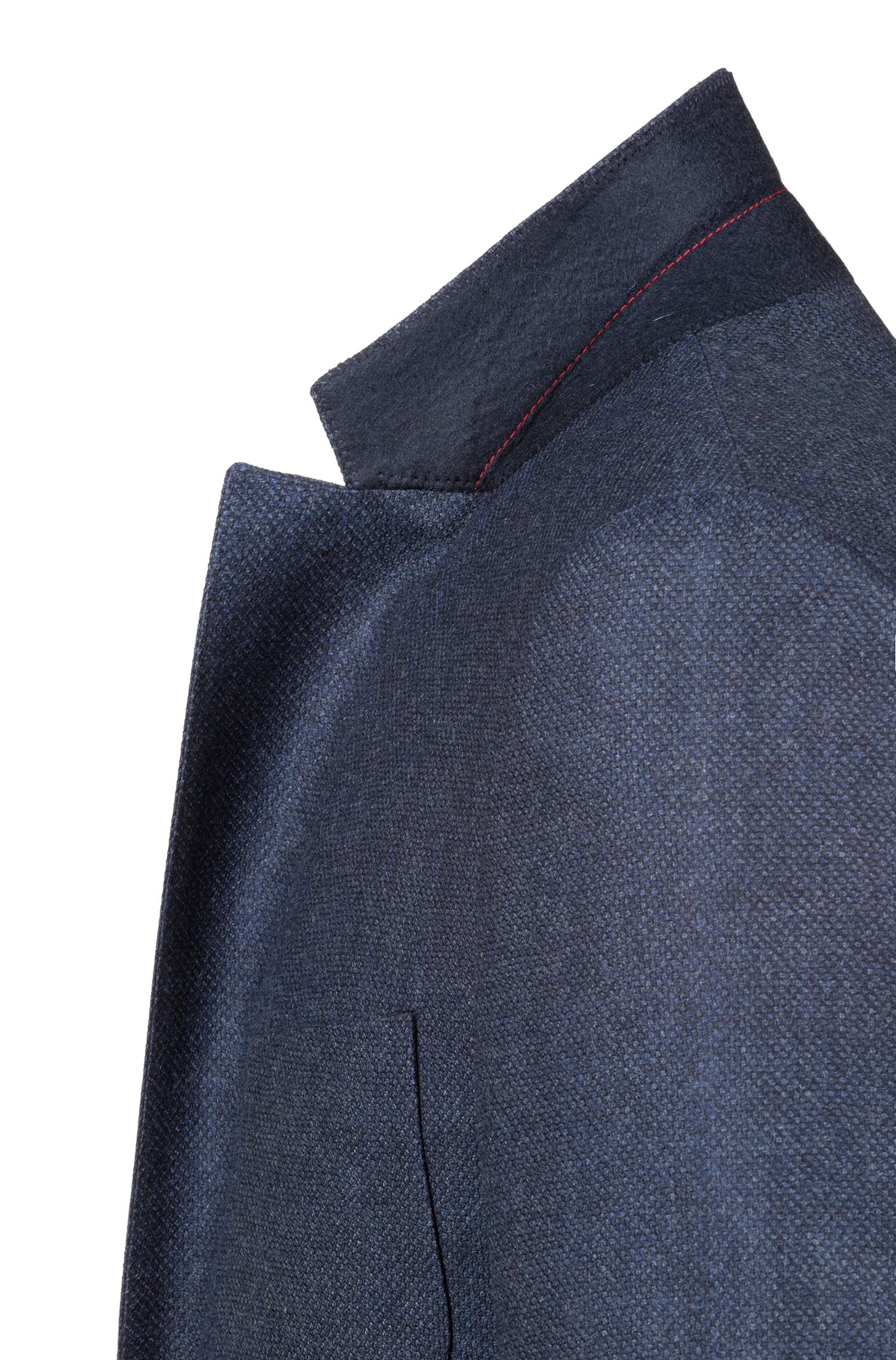 Extra Slim-Fit Sakko aus fein strukturierter Schurwolle, Dunkelblau