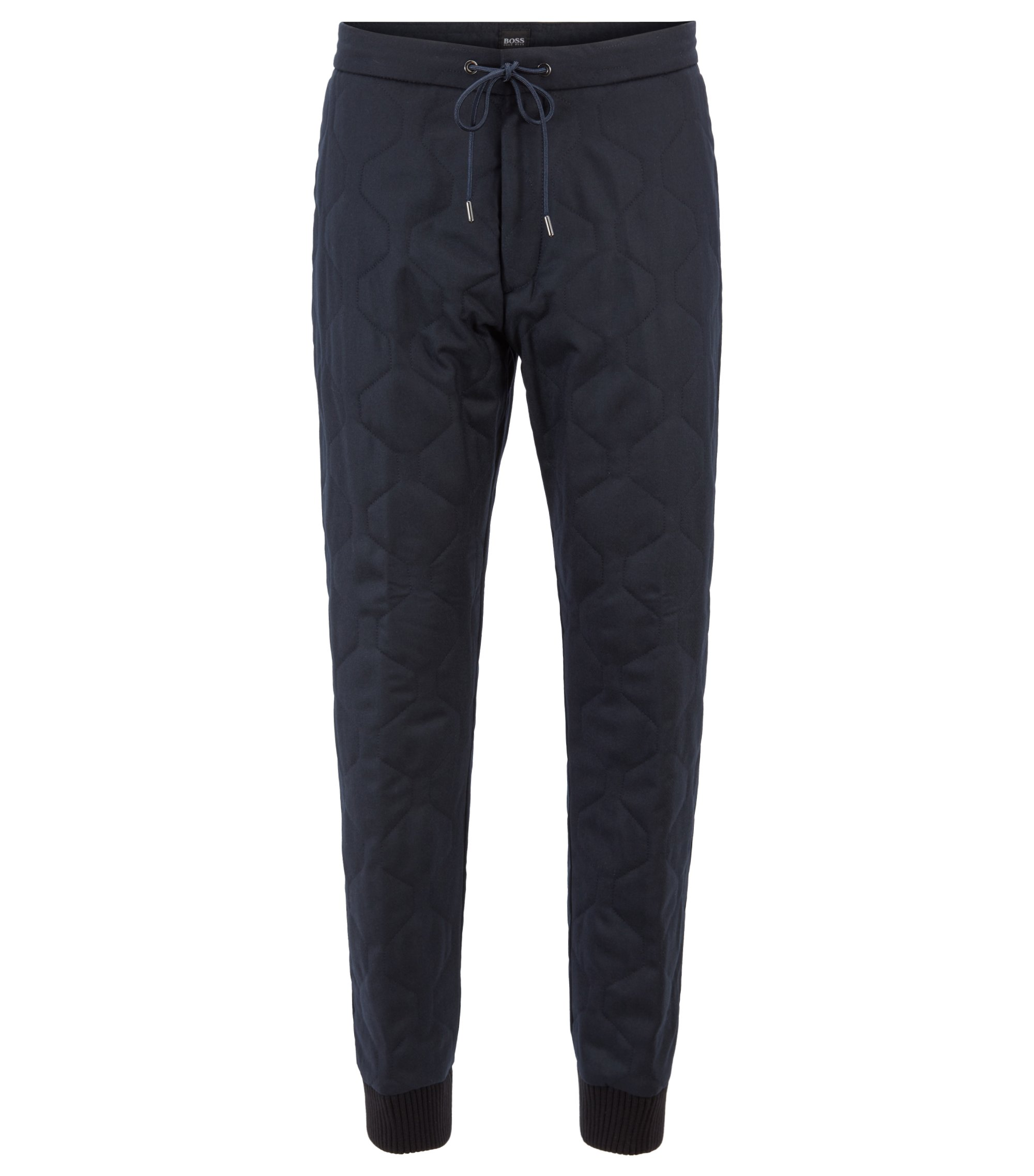 Fashion Show Capsule relaxed-fit chinos in quilted flannel, Dark Blue