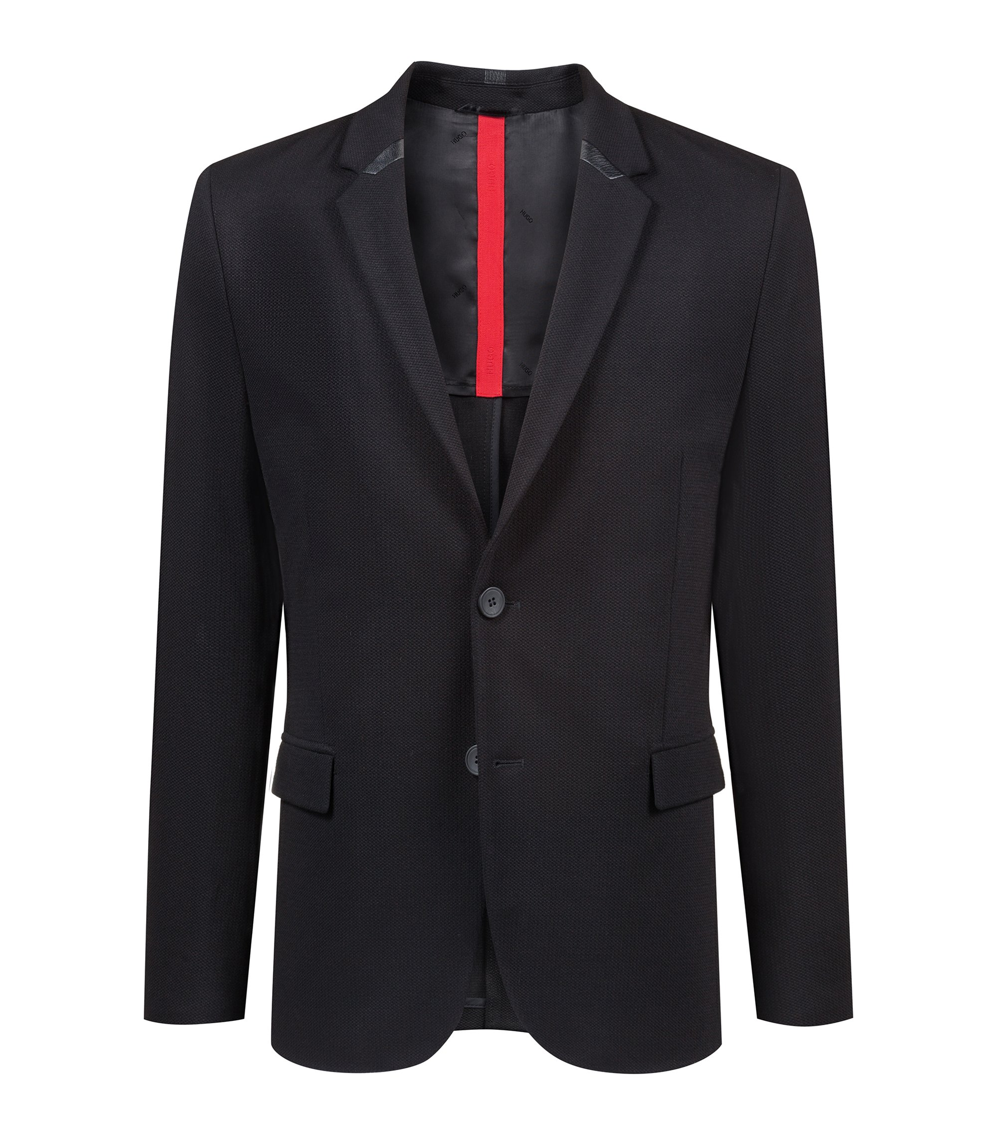 Slim-fit blazer in stretch jersey with 3D-effect structure, Black